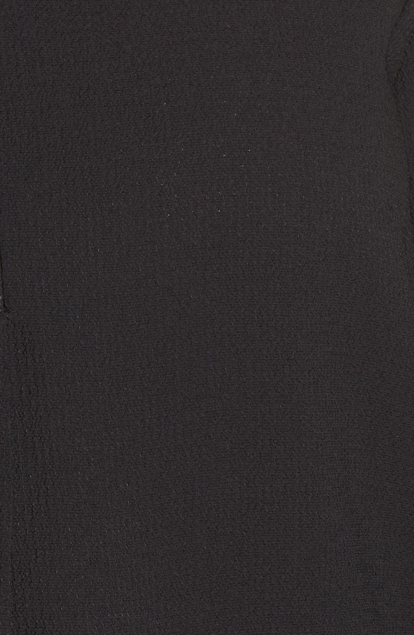 GIBSON, Split Neck Blouse, Alternate thumbnail 5, color, BLACK