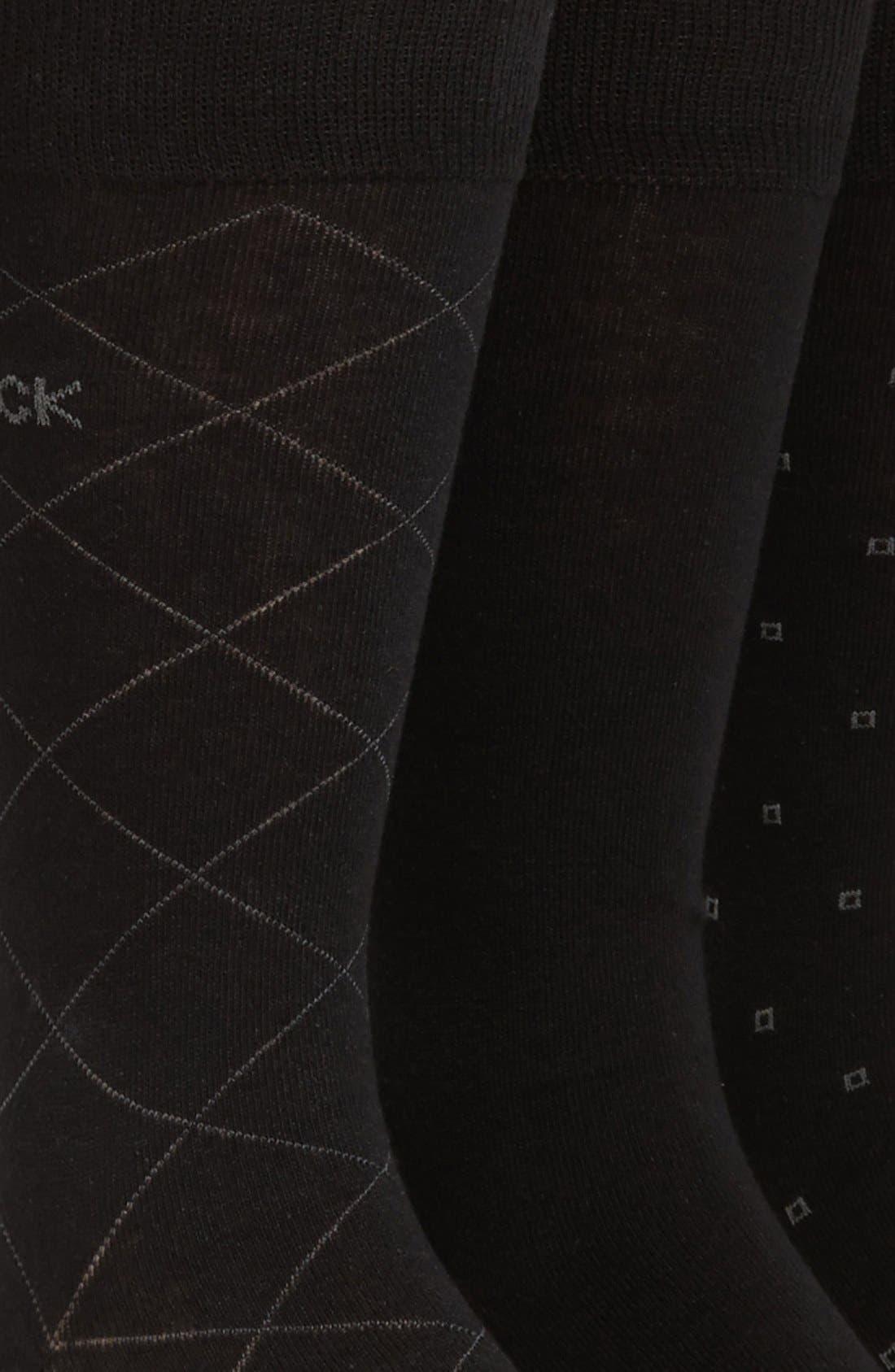 CALVIN KLEIN, 3-Pack Patterned Socks, Alternate thumbnail 2, color, BLACK