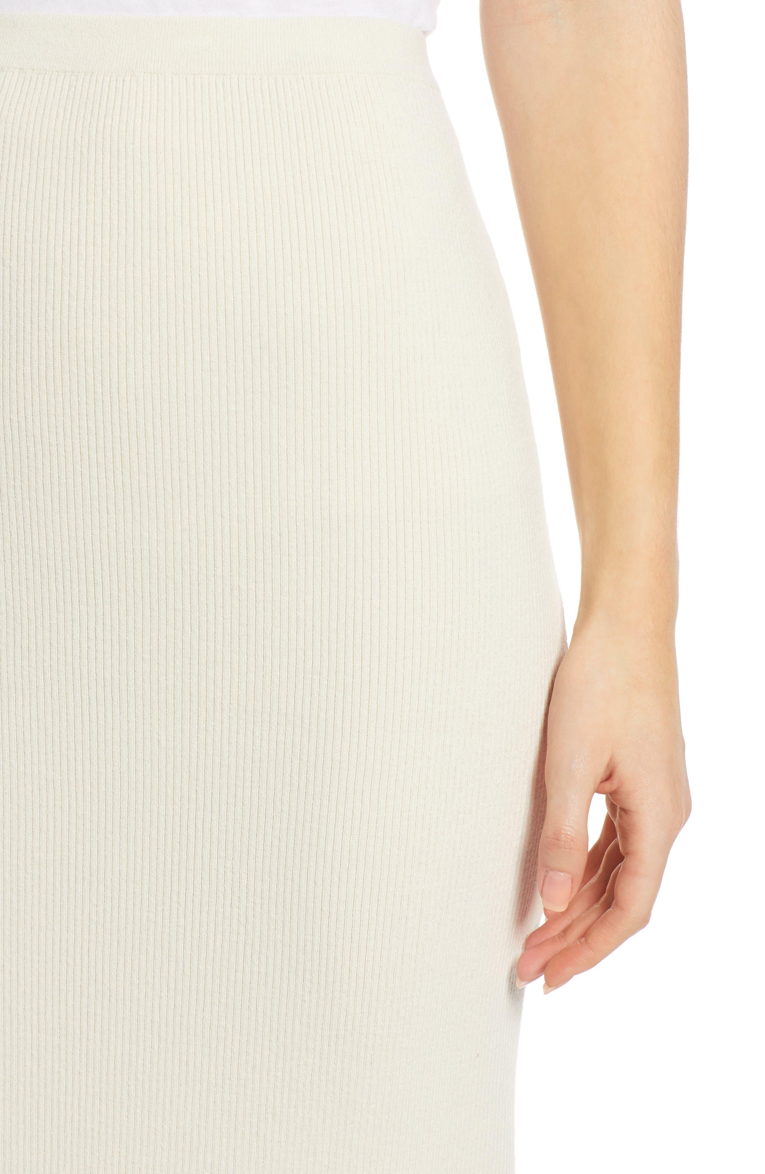 SOMETHING NAVY, Rib Sweater Midi Skirt, Alternate thumbnail 5, color, 900