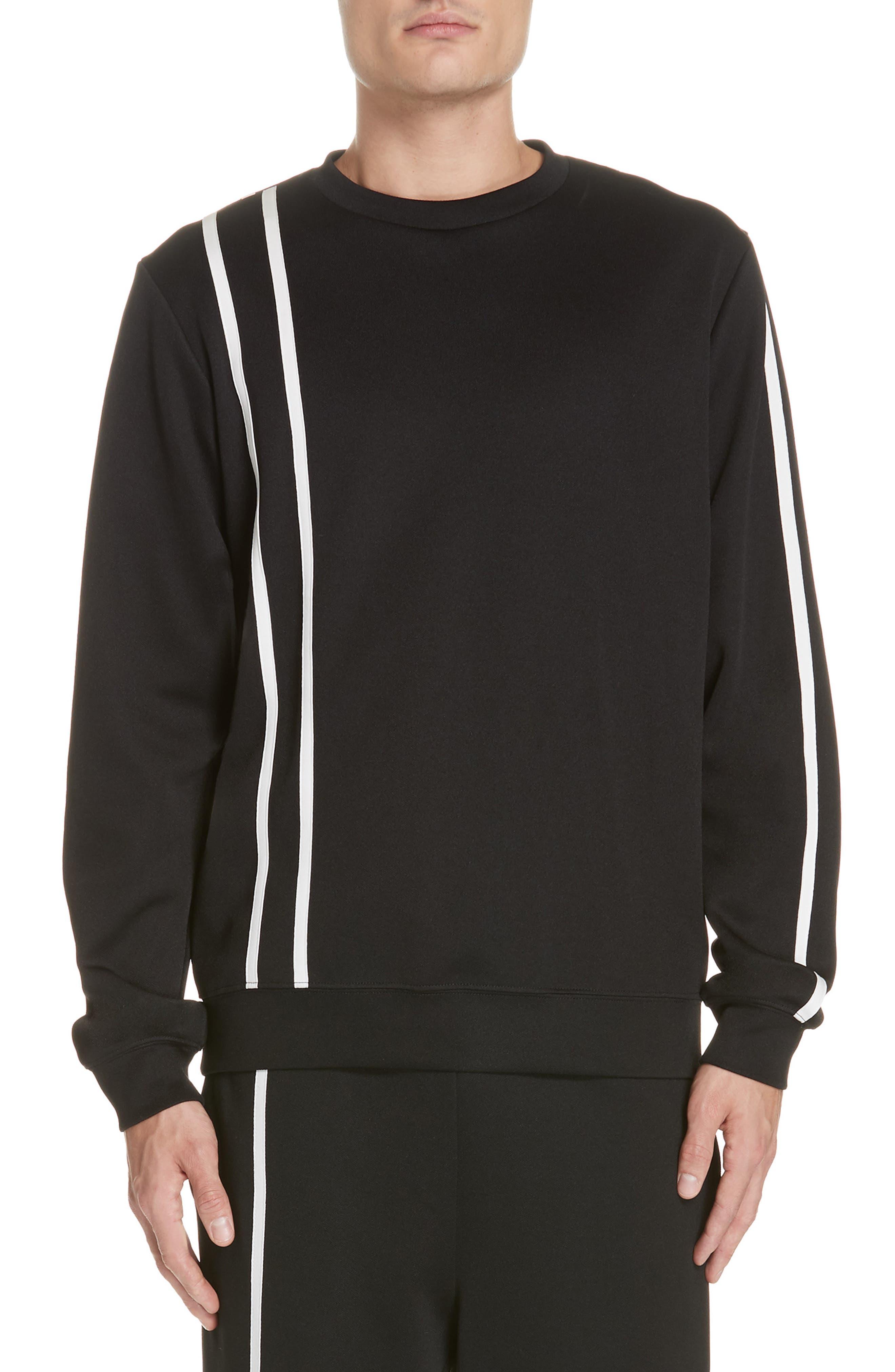 HELMUT LANG, Sport Stripe Print Sweatshirt, Main thumbnail 1, color, BLACK AND WHITE