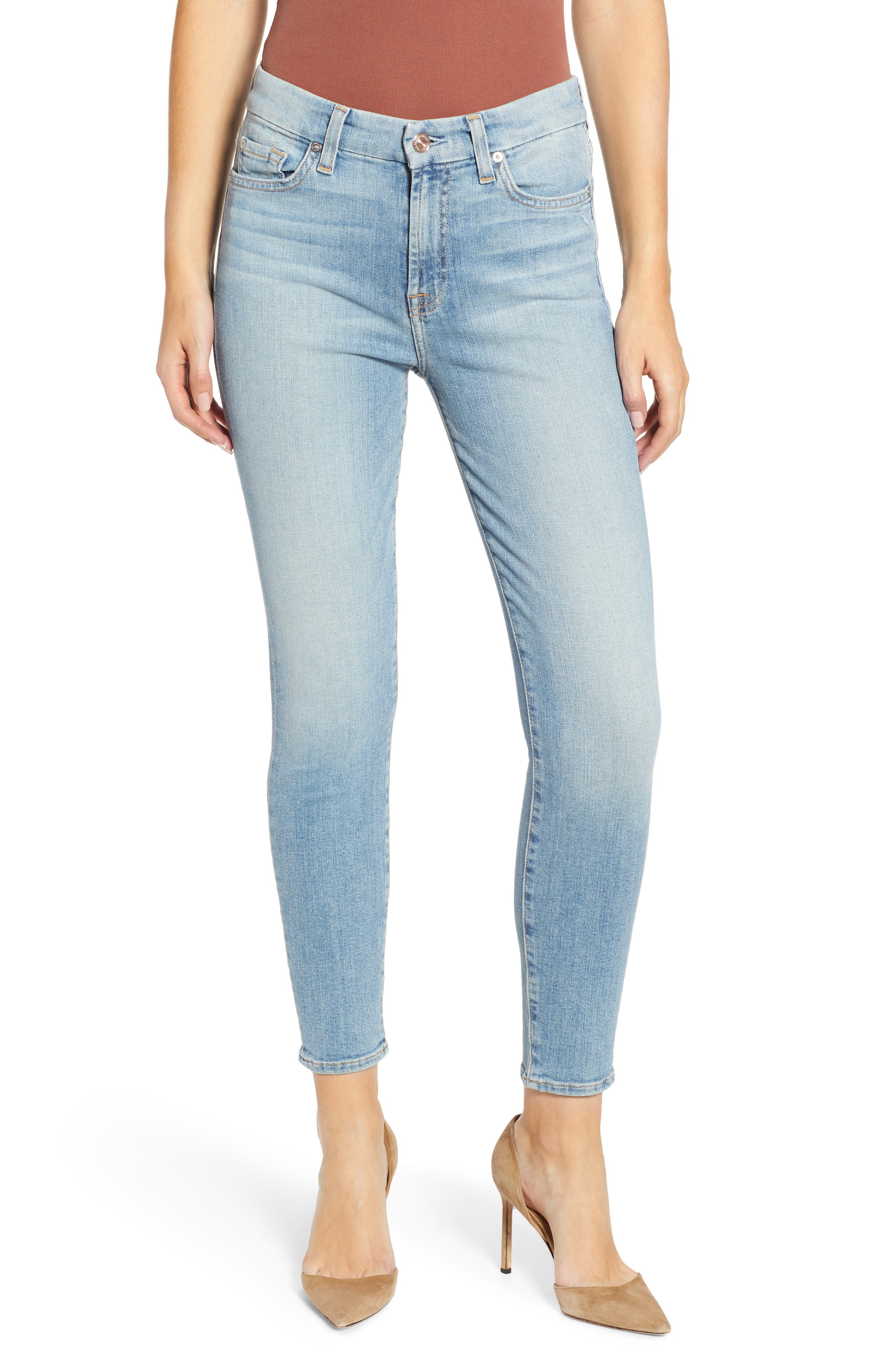 7 FOR ALL MANKIND<SUP>®</SUP>, The High Waist Ankle Skinny Jeans, Main thumbnail 1, color, SANDED LIGHT
