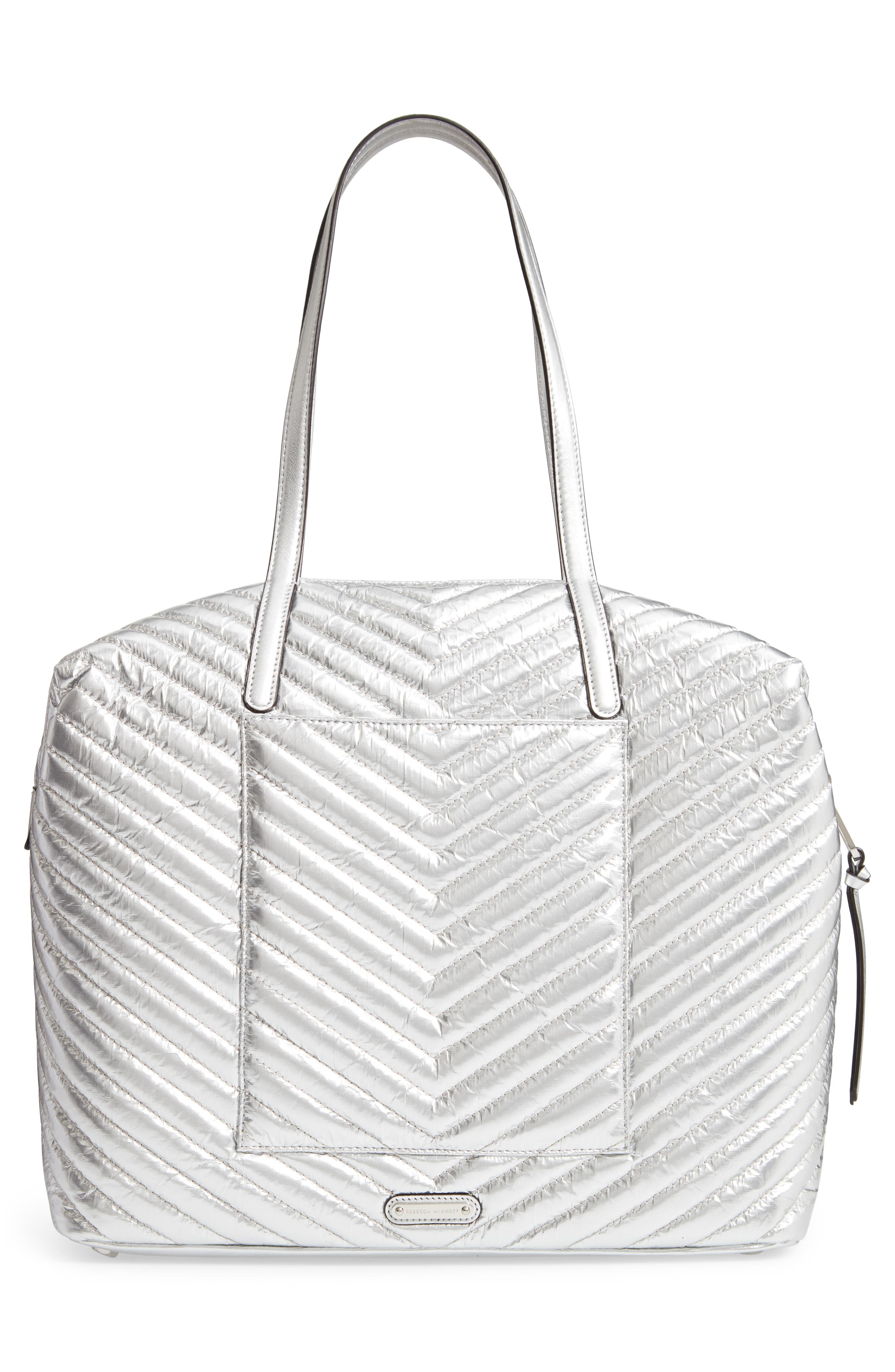 REBECCA MINKOFF, Quilted Nylon Tote, Alternate thumbnail 4, color, 040