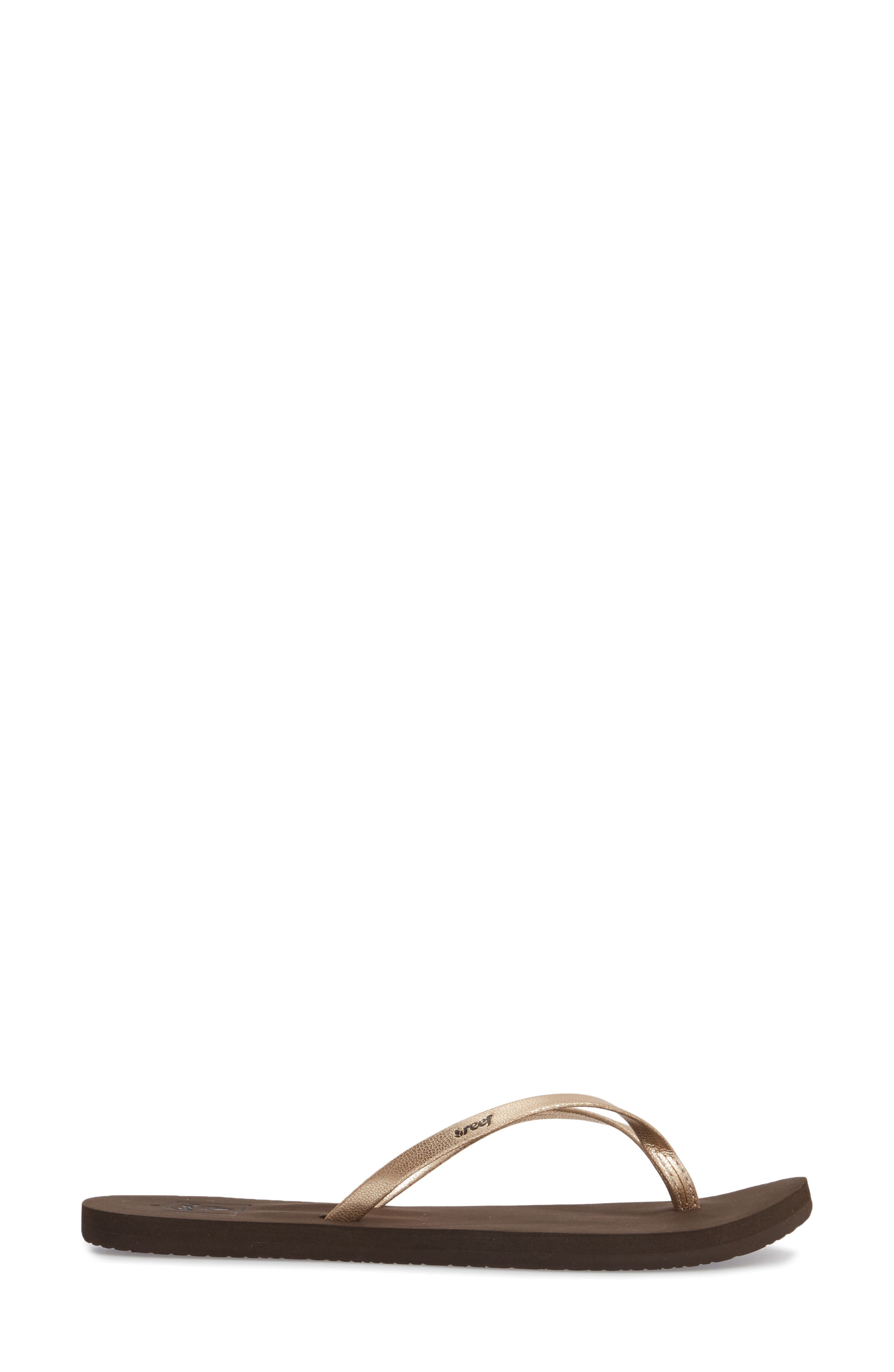 REEF, Bliss Nights Flip Flop, Alternate thumbnail 3, color, ROSE GOLD