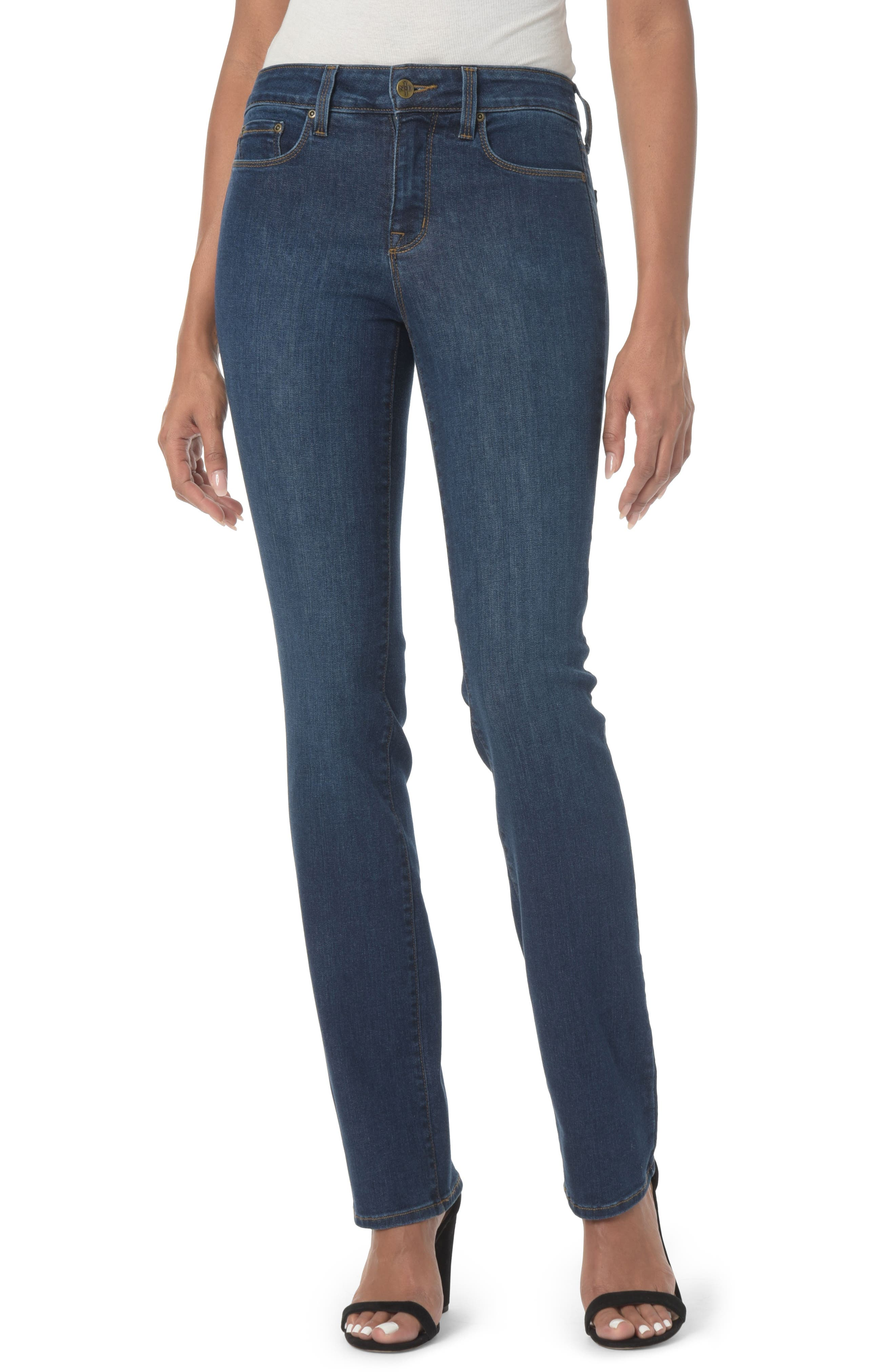NYDJ, Marilyn High Waist Stretch Straight Leg Jeans, Main thumbnail 1, color, COOPER