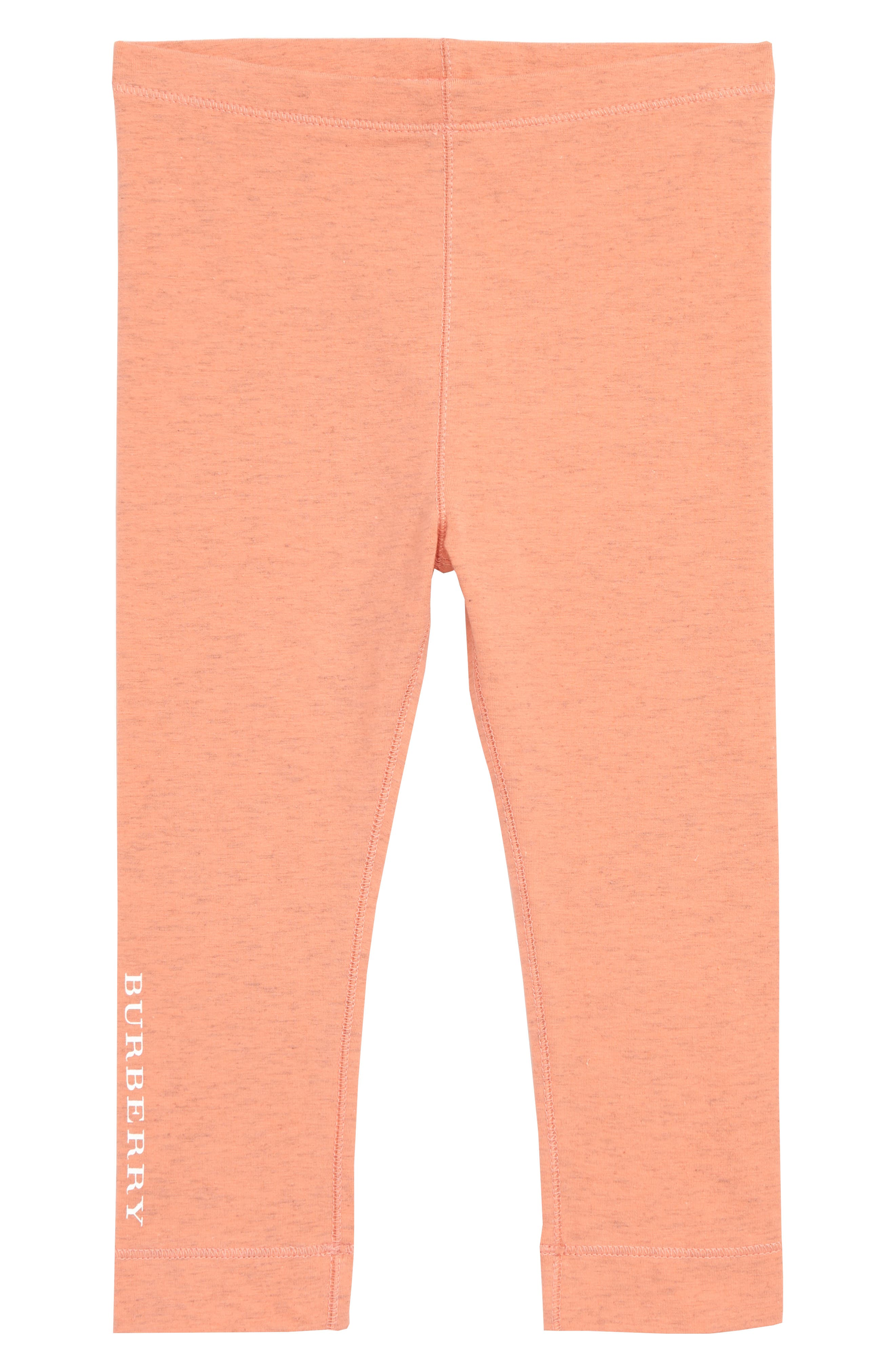 BURBERRY, Penny Logo Leggings, Main thumbnail 1, color, PALE PINK