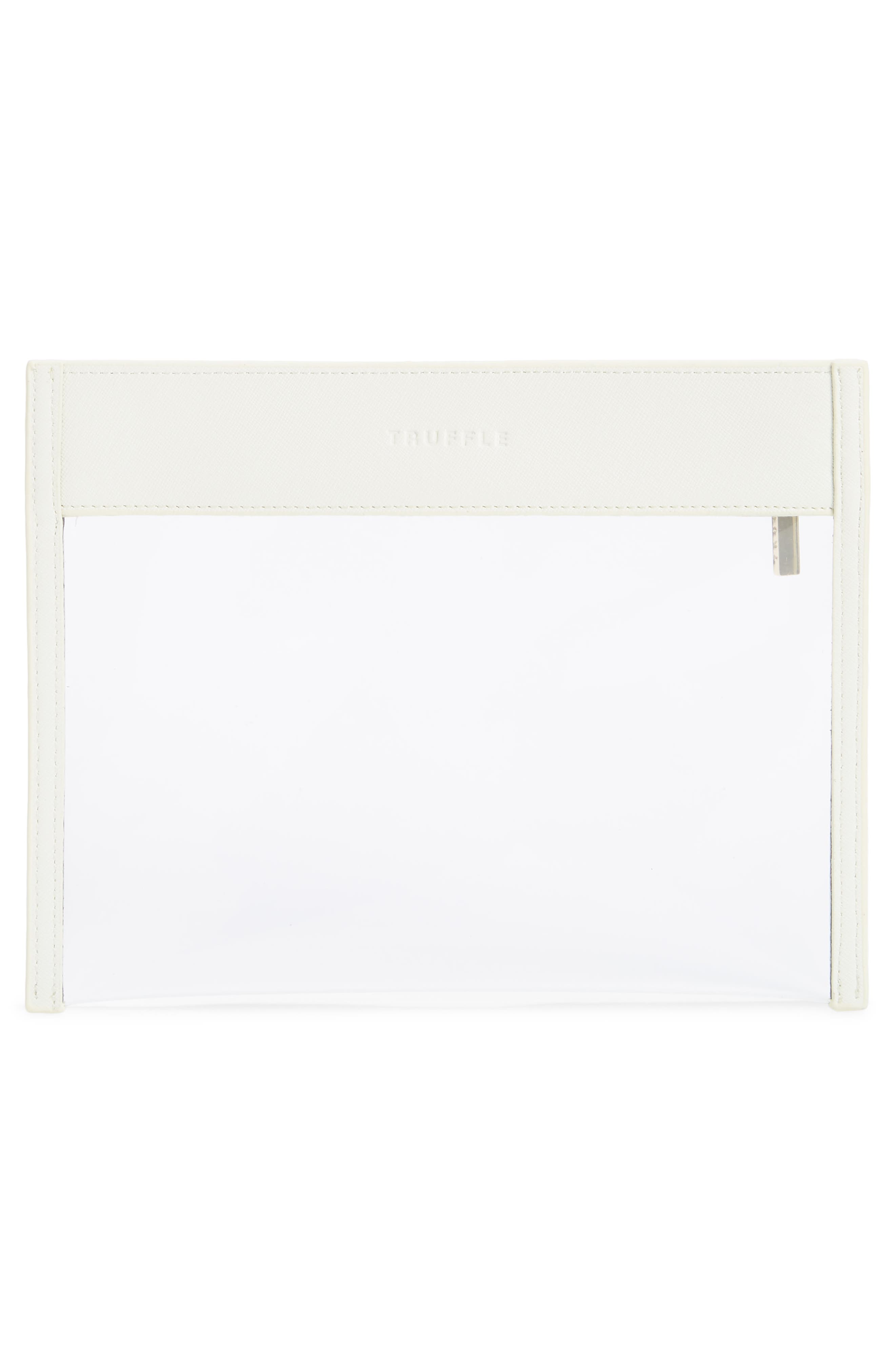 TRUFFLE, Small Clarity Clutch, Alternate thumbnail 3, color, WHITE