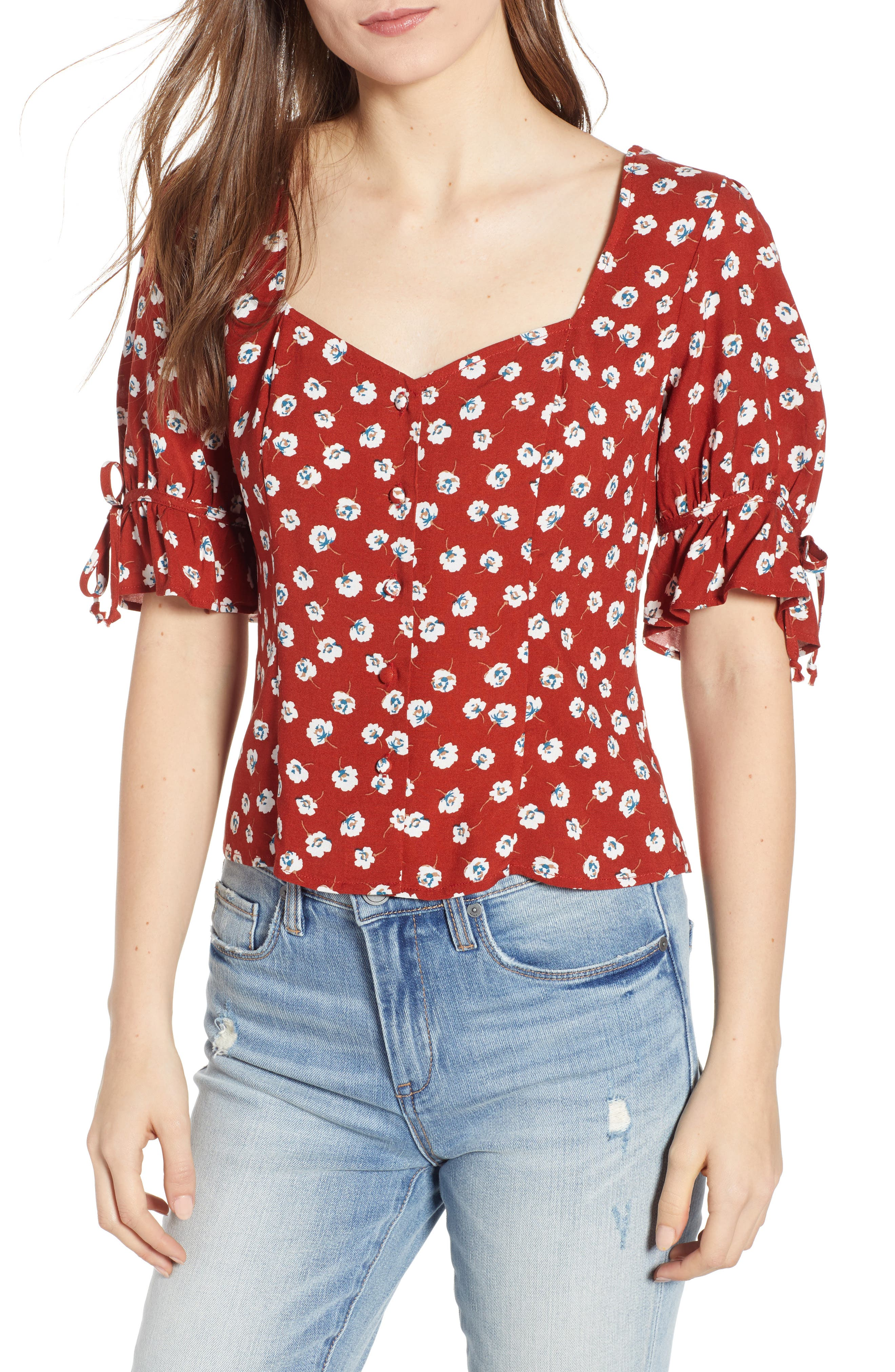 ROW A, Tie Sleeve Top, Main thumbnail 1, color, RED FLORAL