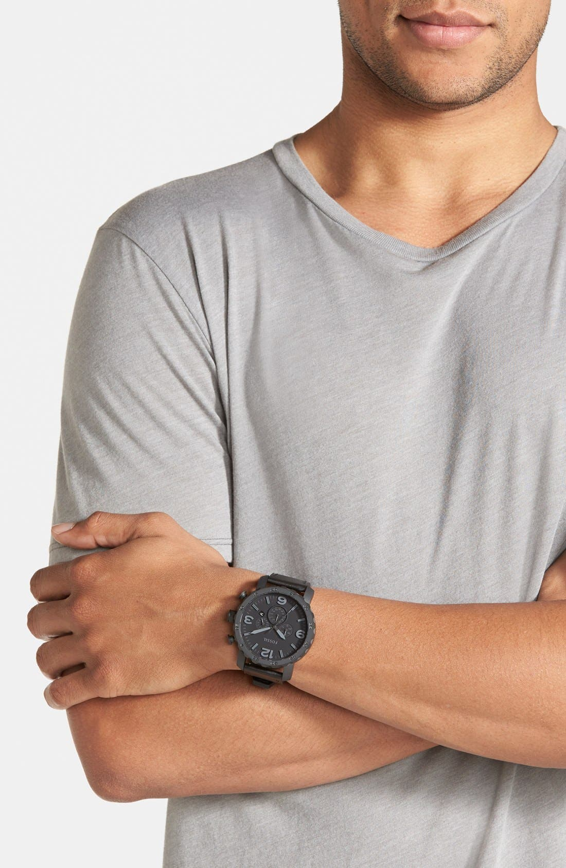 FOSSIL, 'Nate IP' Chronograph Watch, 50mm, Alternate thumbnail 2, color, 001