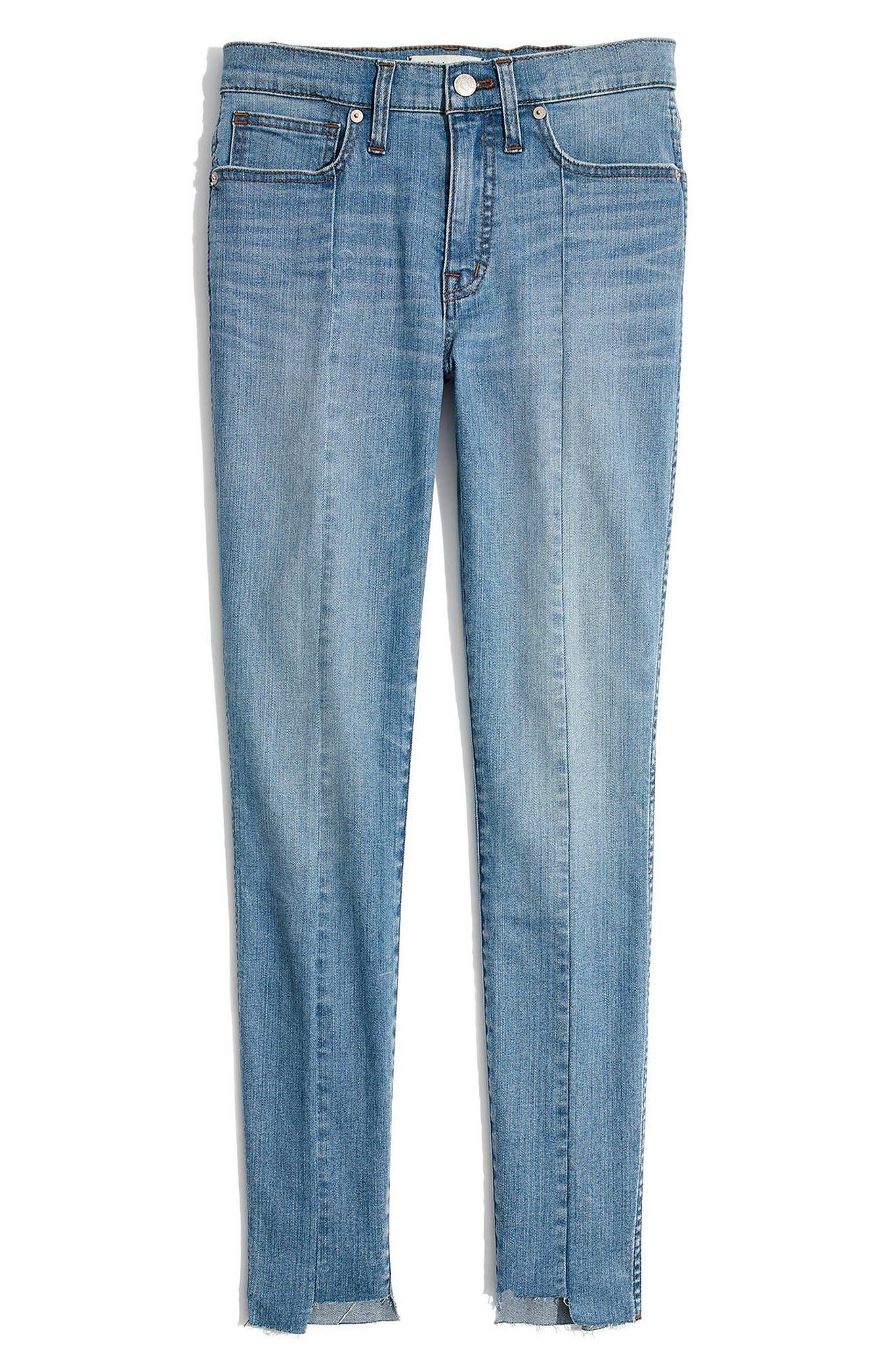MADEWELL, 9-Inch High Waist Seamed Step-Hem Edition Skinny Jeans, Alternate thumbnail 4, color, 400