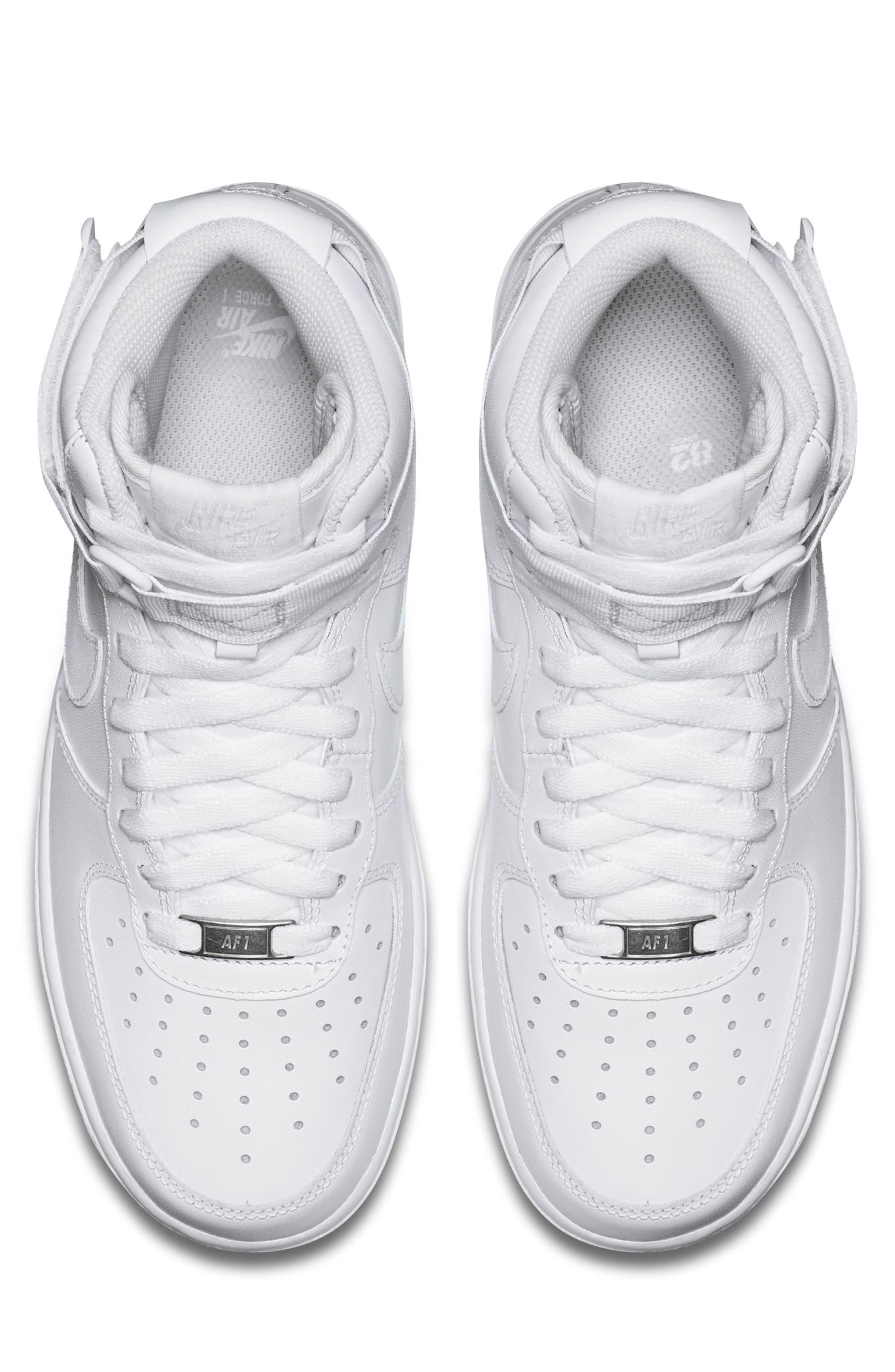 NIKE, Air Force 1 High Top Sneaker, Alternate thumbnail 4, color, WHITE/ WHITE/ WHITE