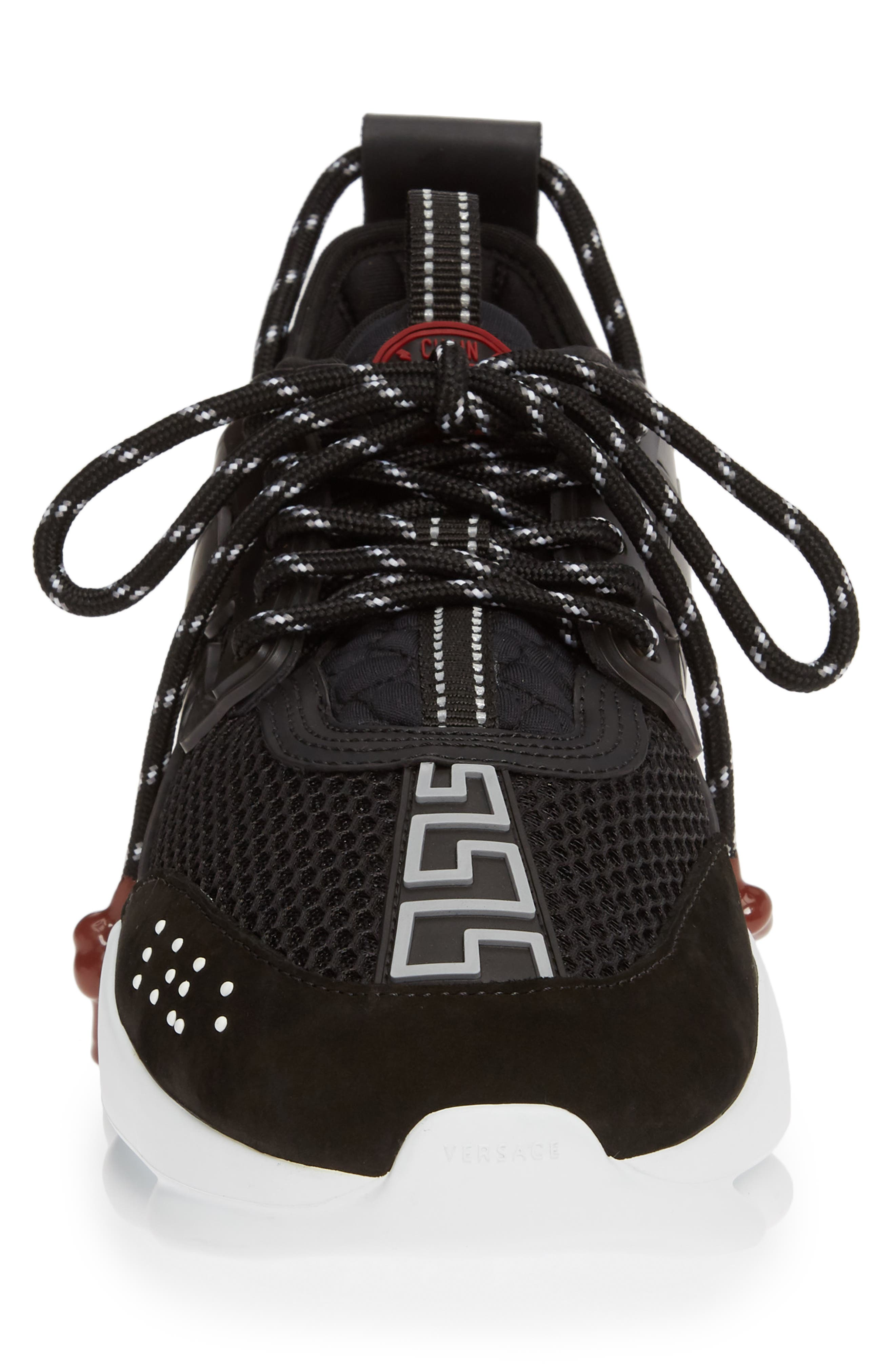 VERSACE FIRST LINE, Versace Chain Reaction Sneaker, Alternate thumbnail 4, color, BLACK/ GREY