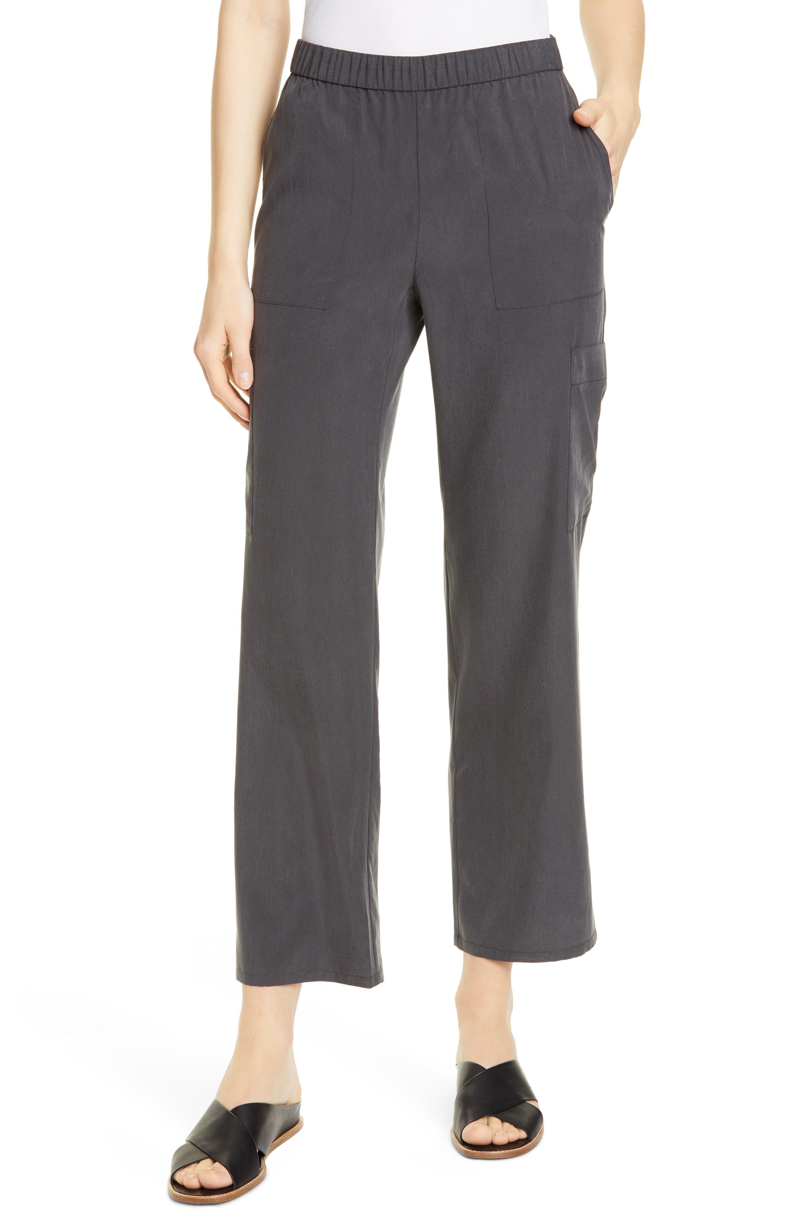 Eileen Fisher Tencel Lyocell Blend Cargo Pants, Grey