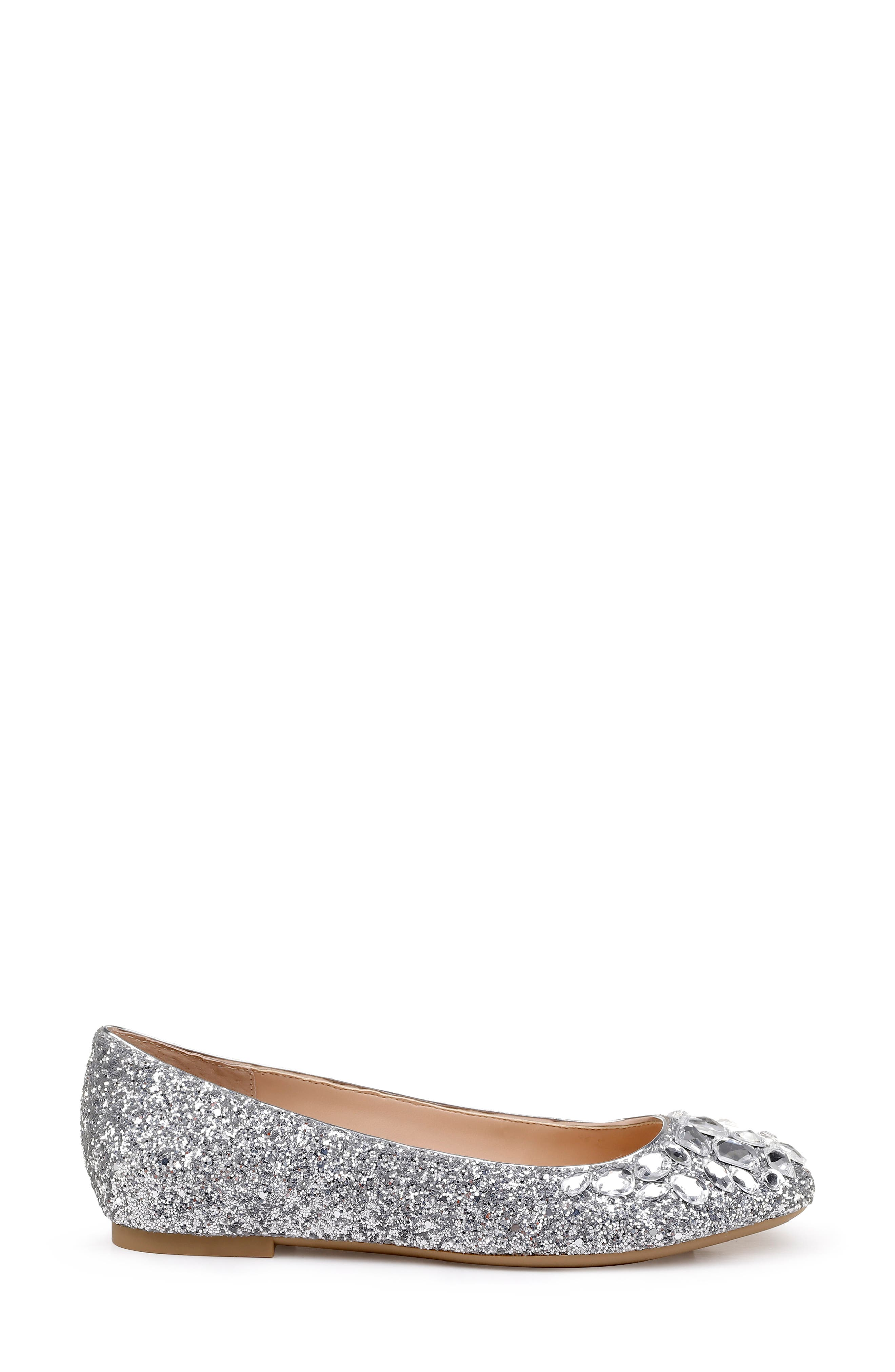 JEWEL BADGLEY MISCHKA, Mathilda Embellished Ballet Flat, Alternate thumbnail 3, color, SILVER GLITTER