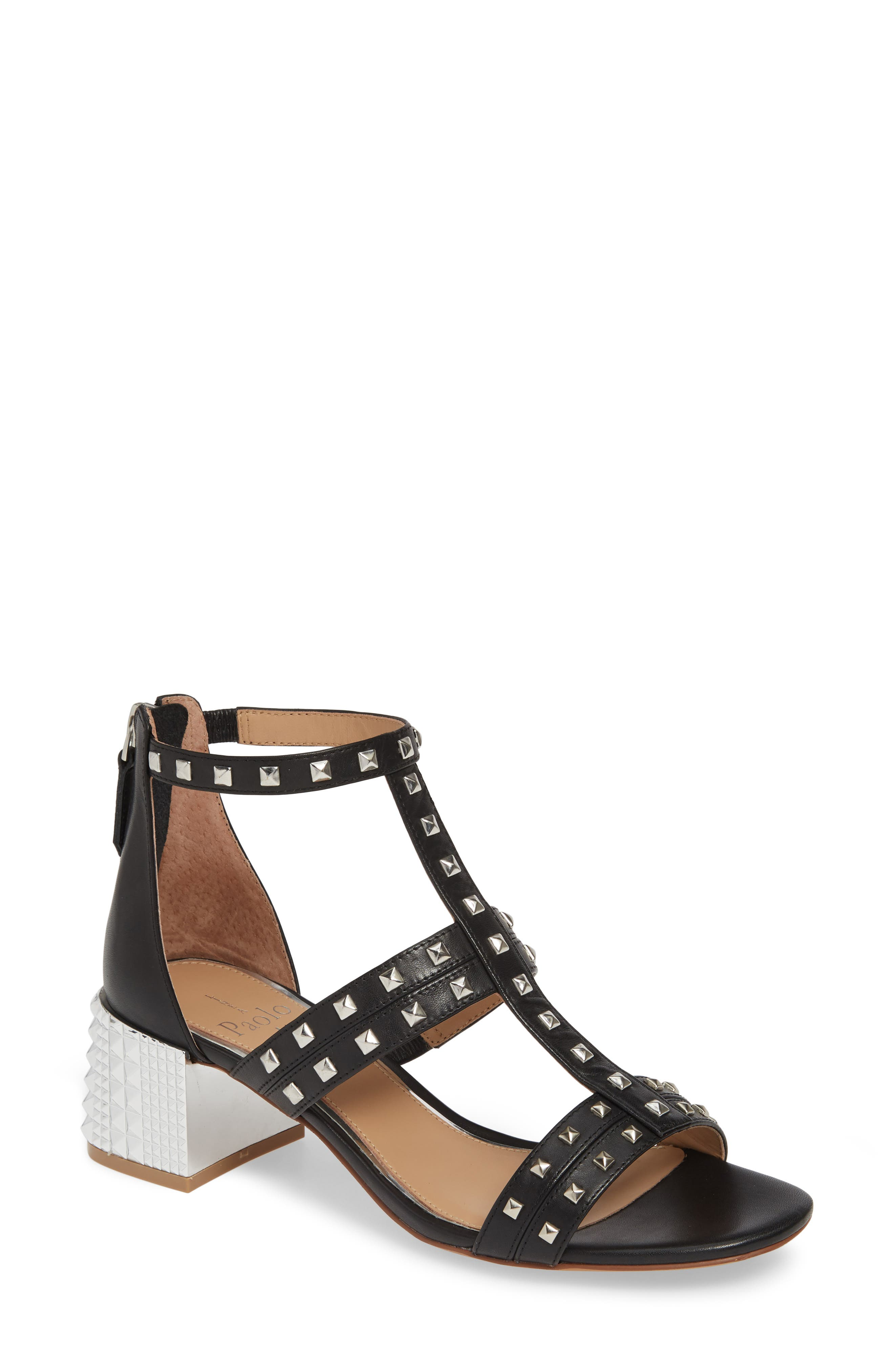 LINEA PAOLO Harley Sandal, Main, color, BLACK LEATHER