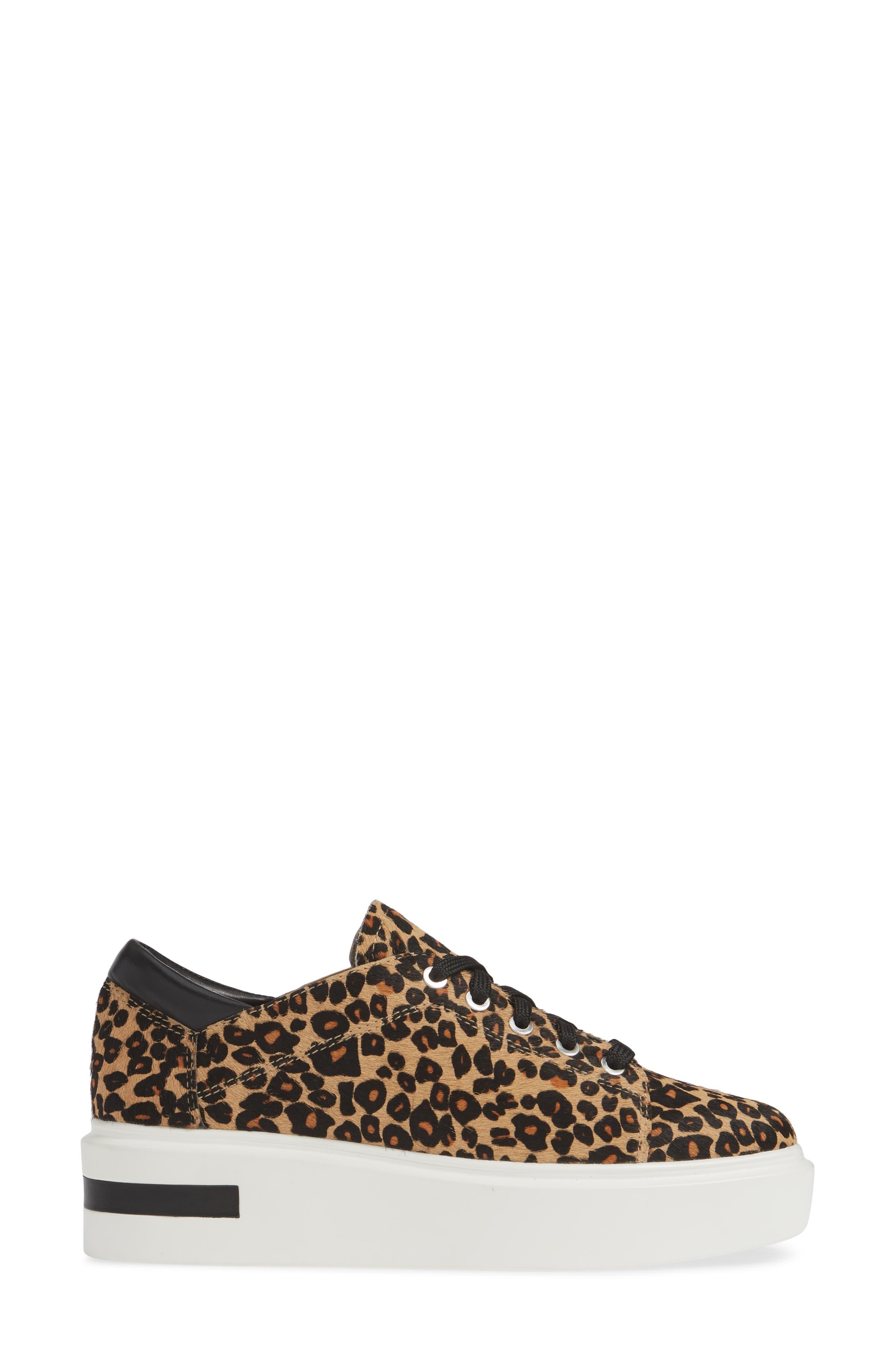 LINEA PAOLO, Kendra Genuine Calf Hair Platform Sneaker, Alternate thumbnail 3, color, LEOPARD PRINT CALF HAIR