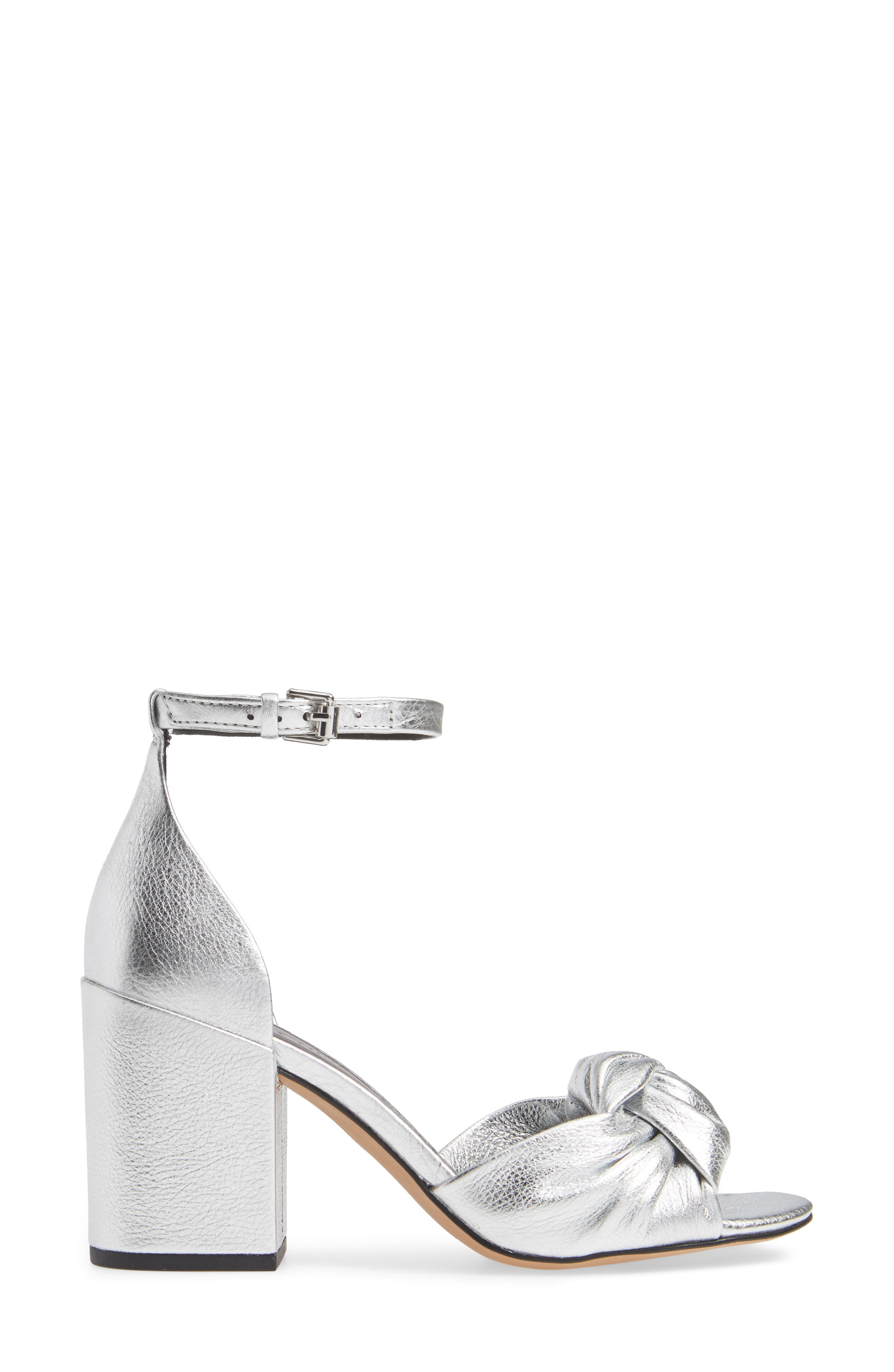 REBECCA MINKOFF, Capriana Ankle Strap Sandal, Alternate thumbnail 3, color, SILVER LEATHER