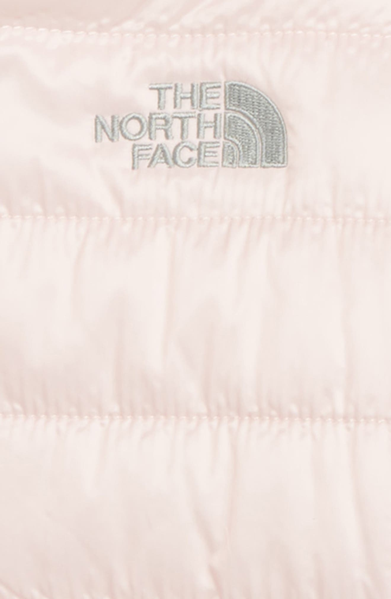 THE NORTH FACE, Mossbud Swirl Reversible Water Repellent Jacket, Alternate thumbnail 3, color, PURDY PINK