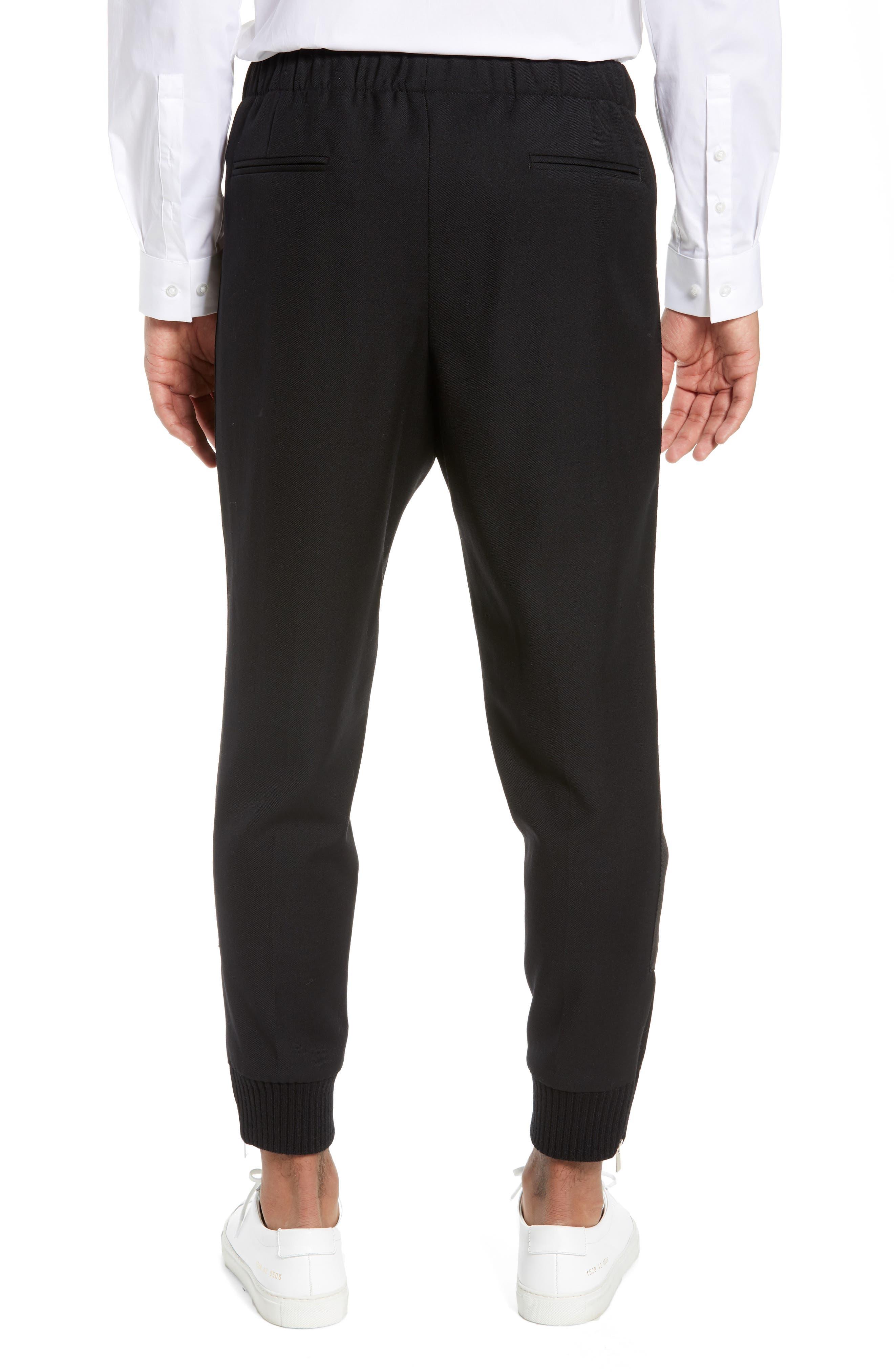THE KOOPLES, Straight Leg Woven Jogger Pants, Alternate thumbnail 2, color, BLACK