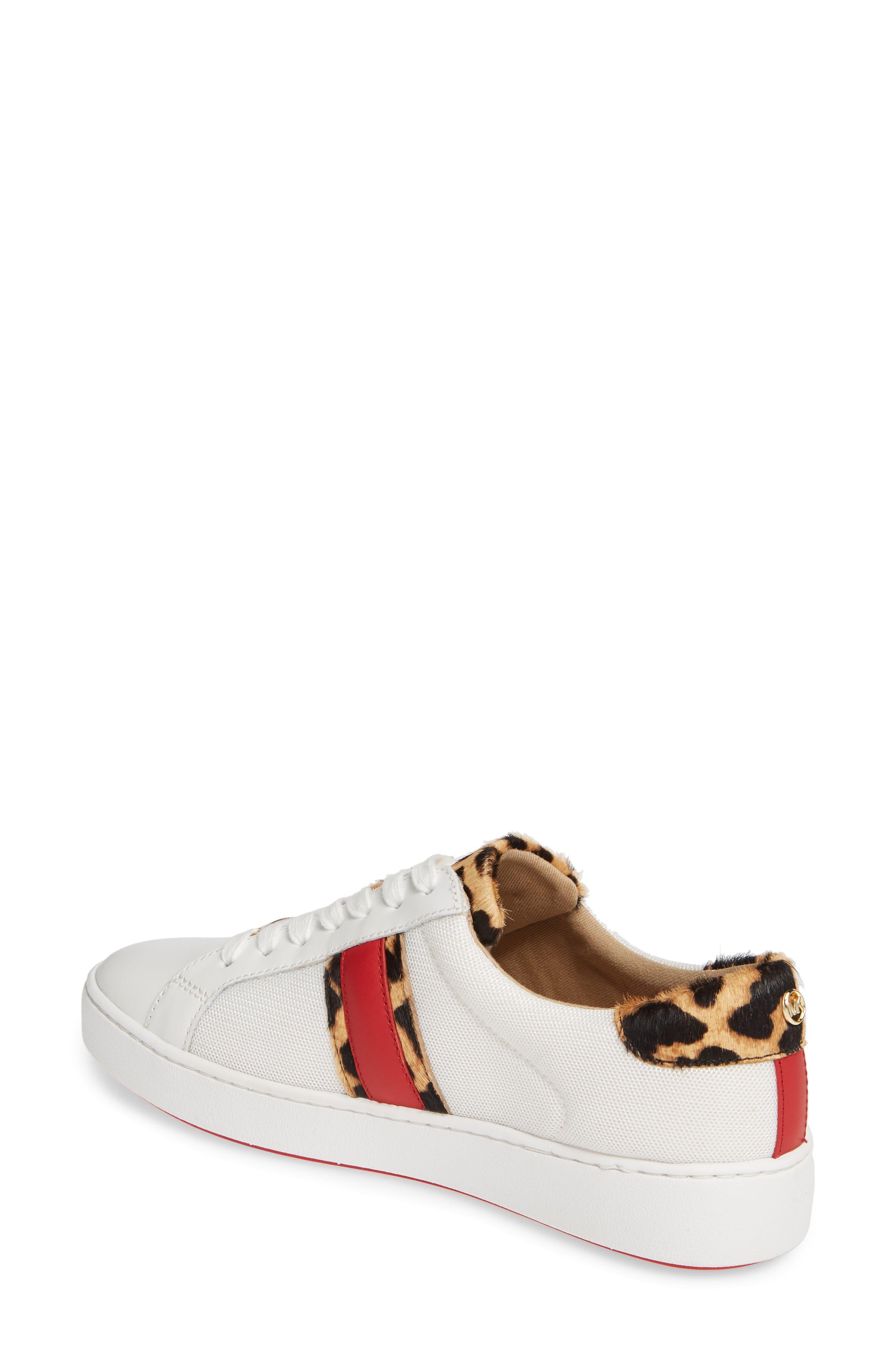 MICHAEL MICHAEL KORS, Irving Stripe Sneaker, Alternate thumbnail 2, color, OPTIC WHITE/ NATURAL