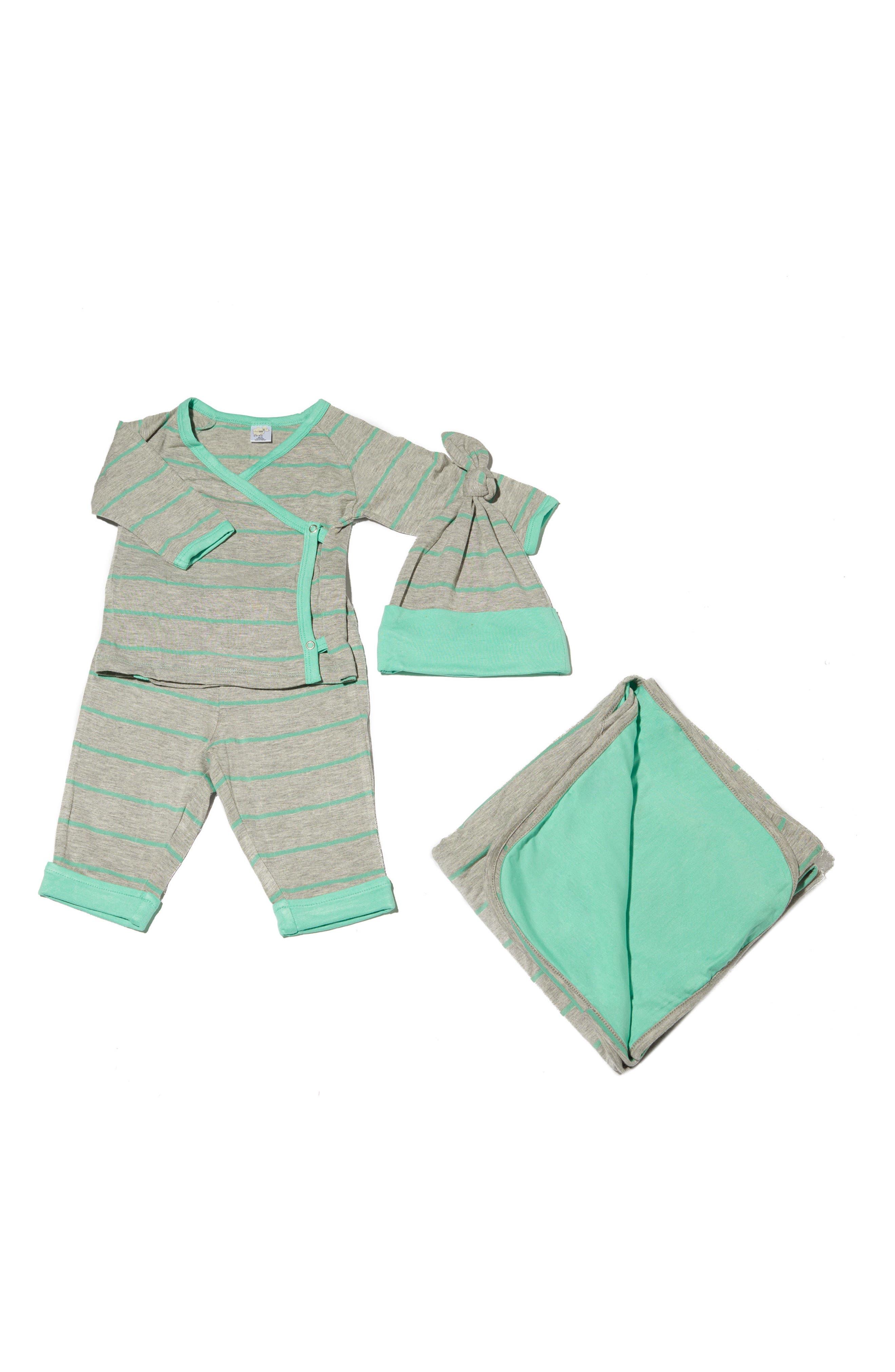 BABY GREY, T-Shirt, Pants, Hat & Blanket Set, Main thumbnail 1, color, SEAFOAM