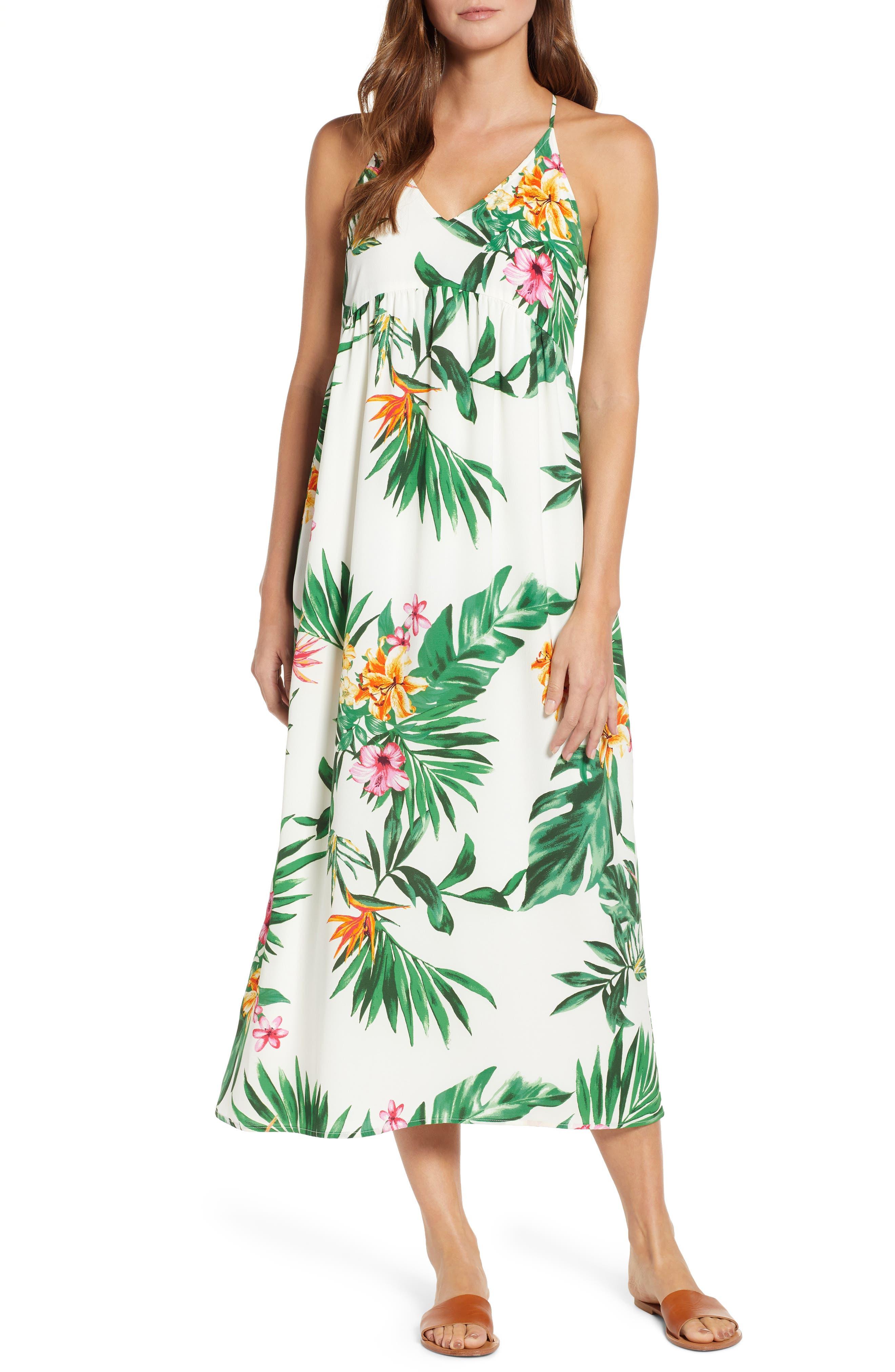 GIBSON, x Hi Sugarplum! Palm Springs Festival Maxi Dress, Main thumbnail 1, color, BIRD OF PARADISE