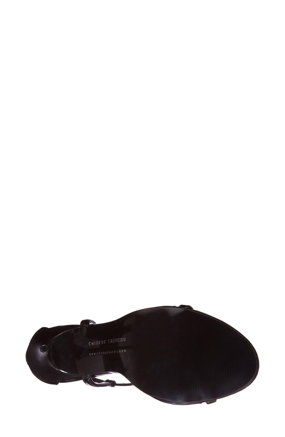 CHINESE LAUNDRY, 'Leo' Patent T-Strap Sandal, Alternate thumbnail 3, color, 001
