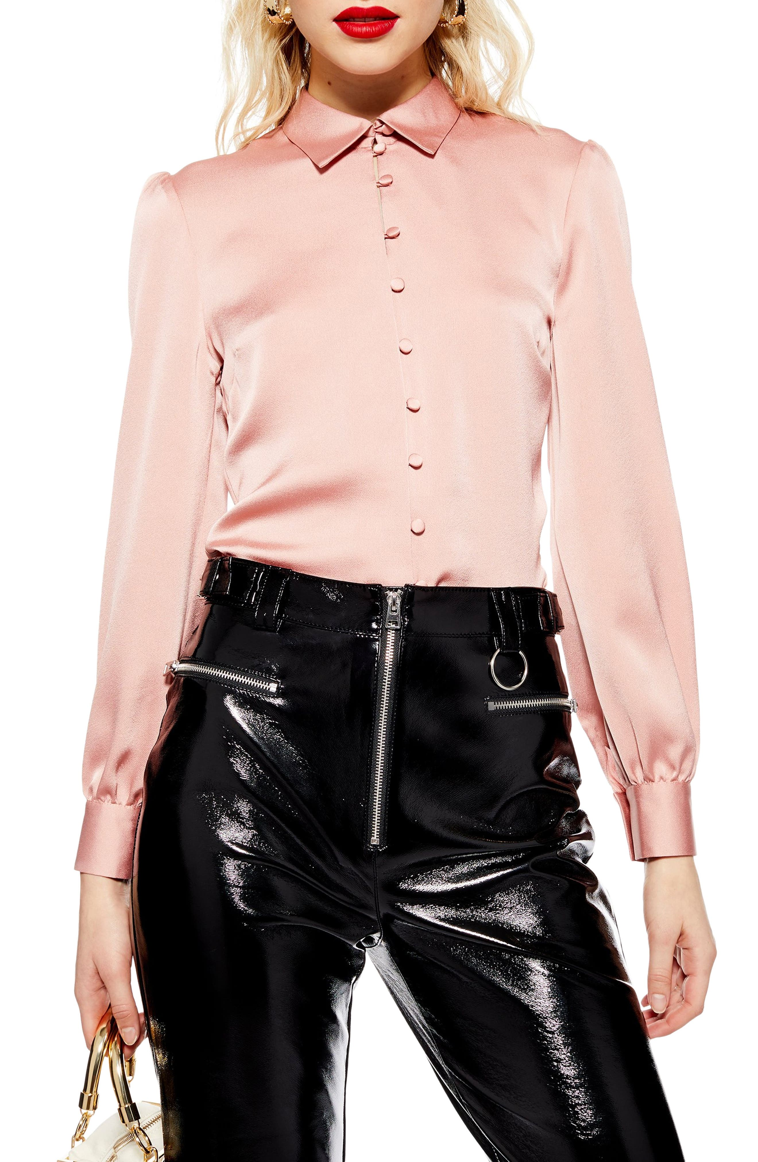 TOPSHOP Rouleau Button Shirt, Main, color, BLUSH