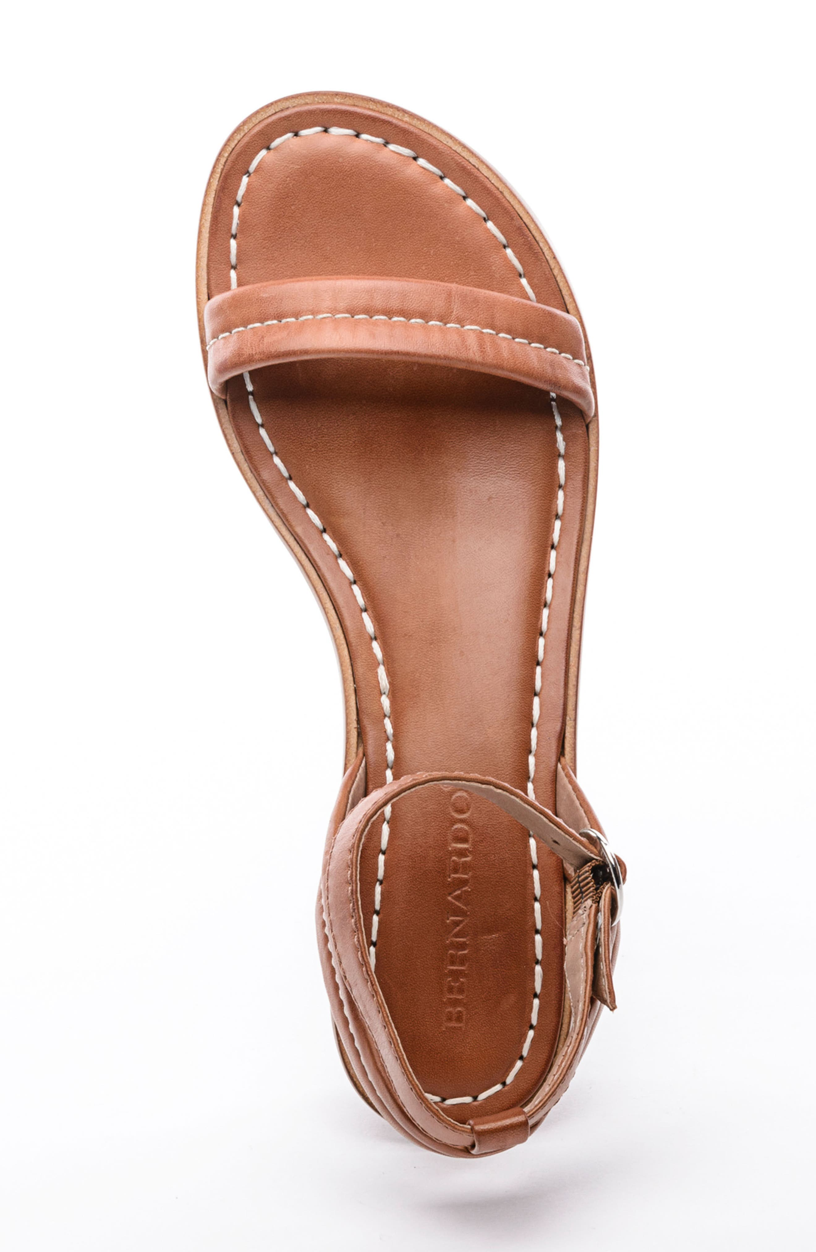 BERNARDO, Catherine Ankle Strap Sandal, Alternate thumbnail 5, color, LUGGAGE BROWN ANTIQUE