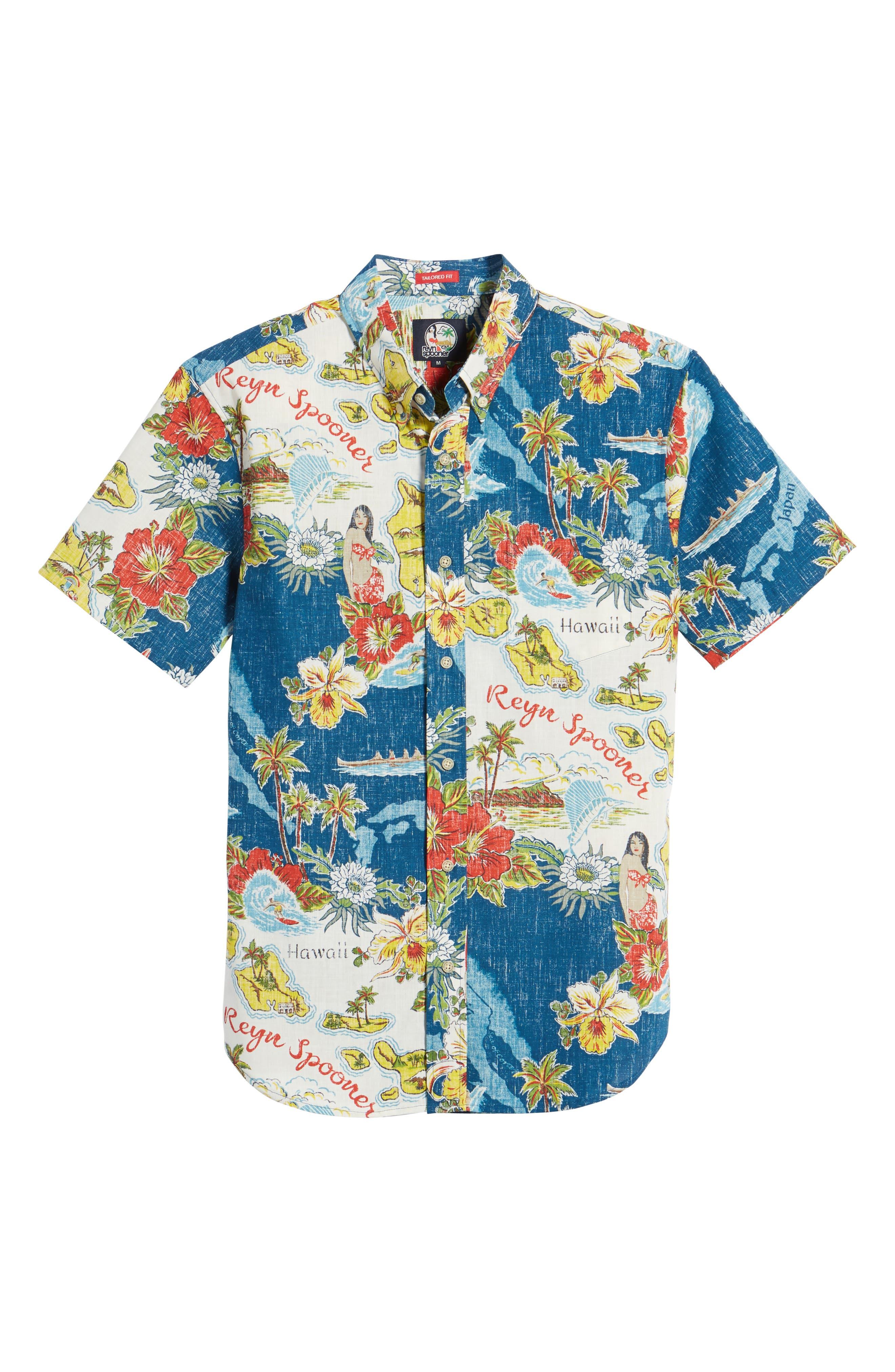 REYN SPOONER, Status Oceanic Tailored Fit Print Sport Shirt, Alternate thumbnail 6, color, NAVY