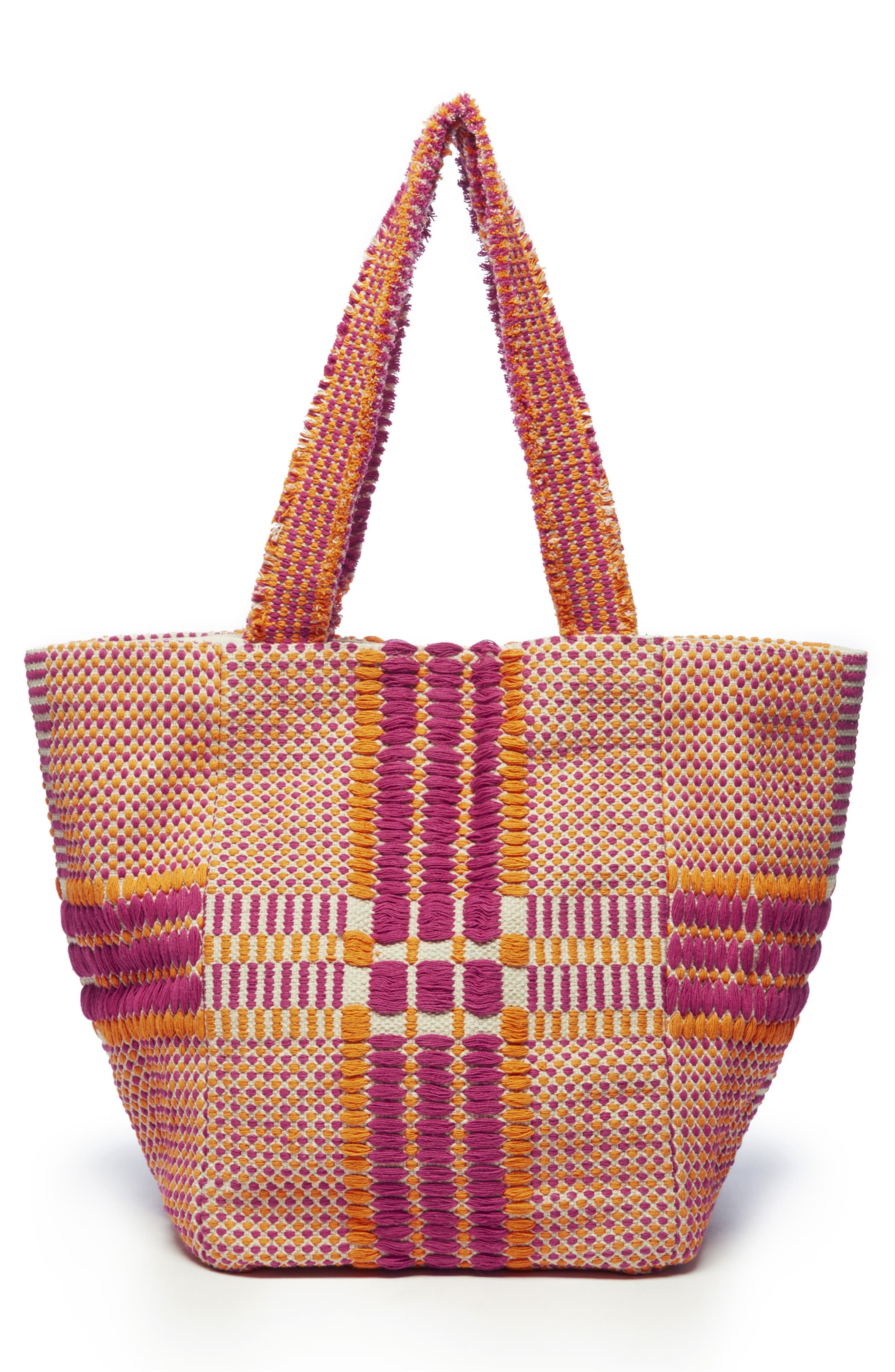 SOLE SOCIETY, Jalia Cotton Tote, Alternate thumbnail 2, color, PINK MULTI