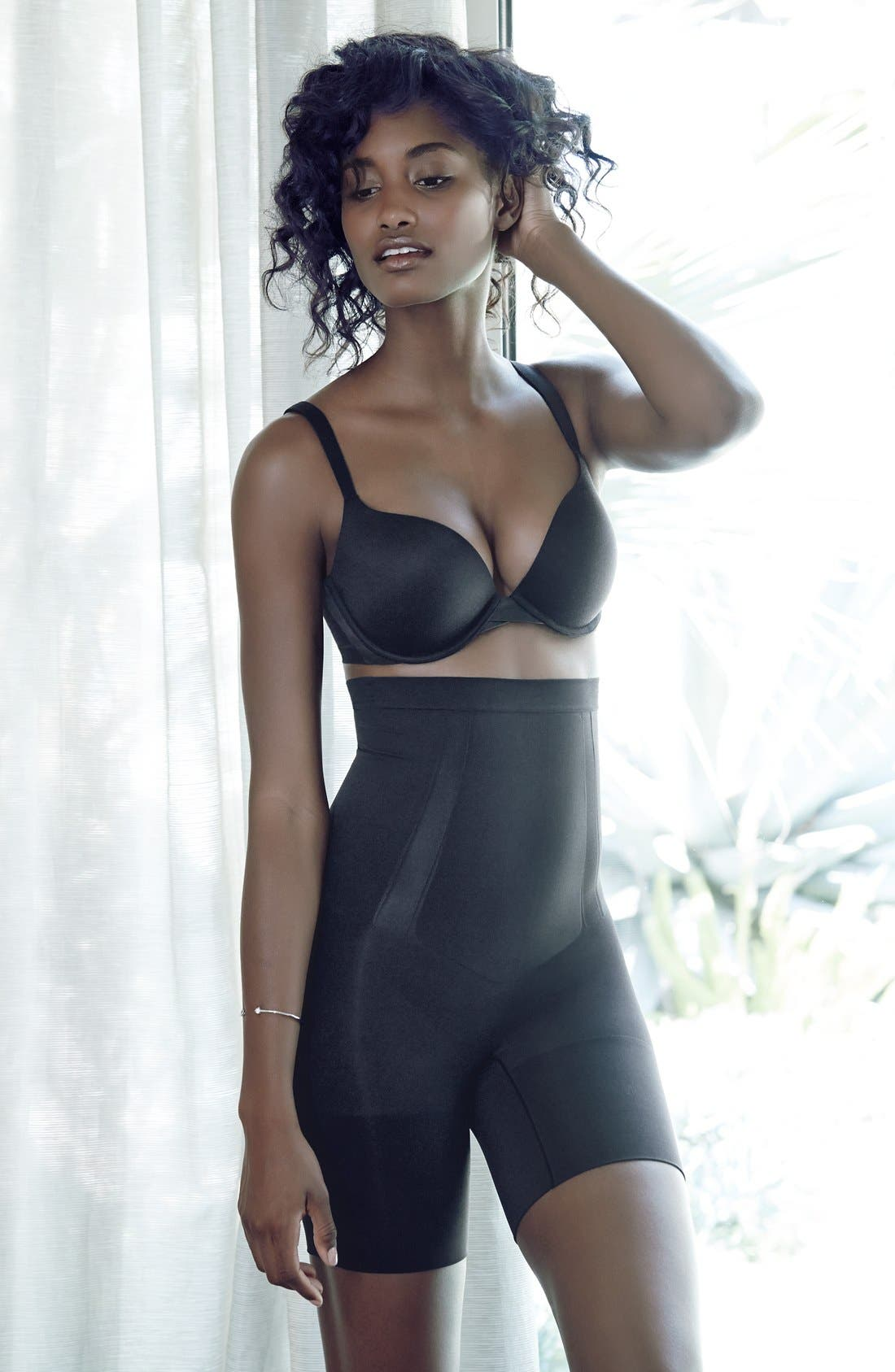 SPANX<SUP>®</SUP>, Underwire Pillow Cup Push-Up Plunge Bra, Alternate thumbnail 9, color, VERY BLACK