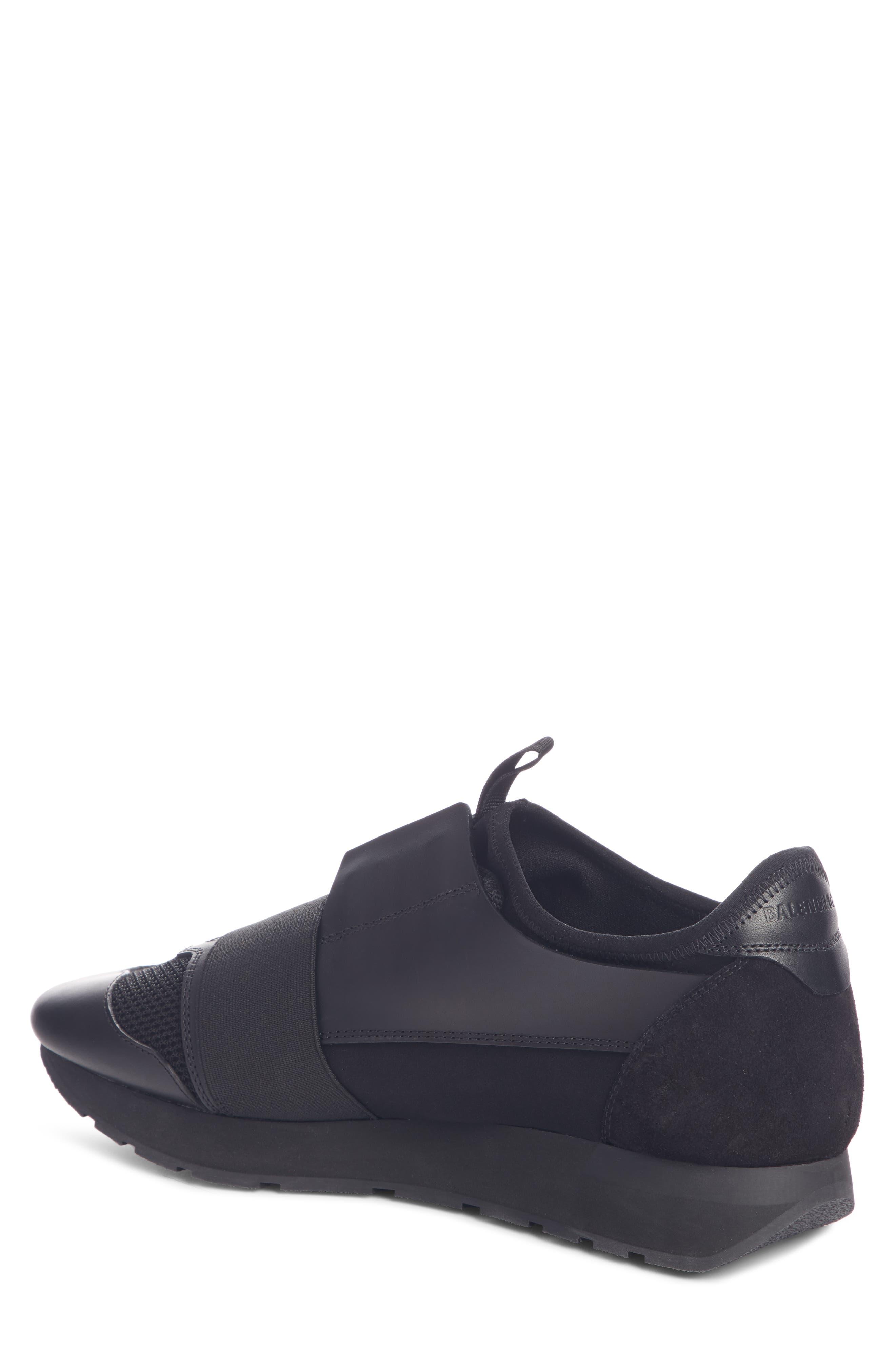 BALENCIAGA, Race Runner Sneaker, Alternate thumbnail 2, color, BLACK/ BLACK/ BLACK