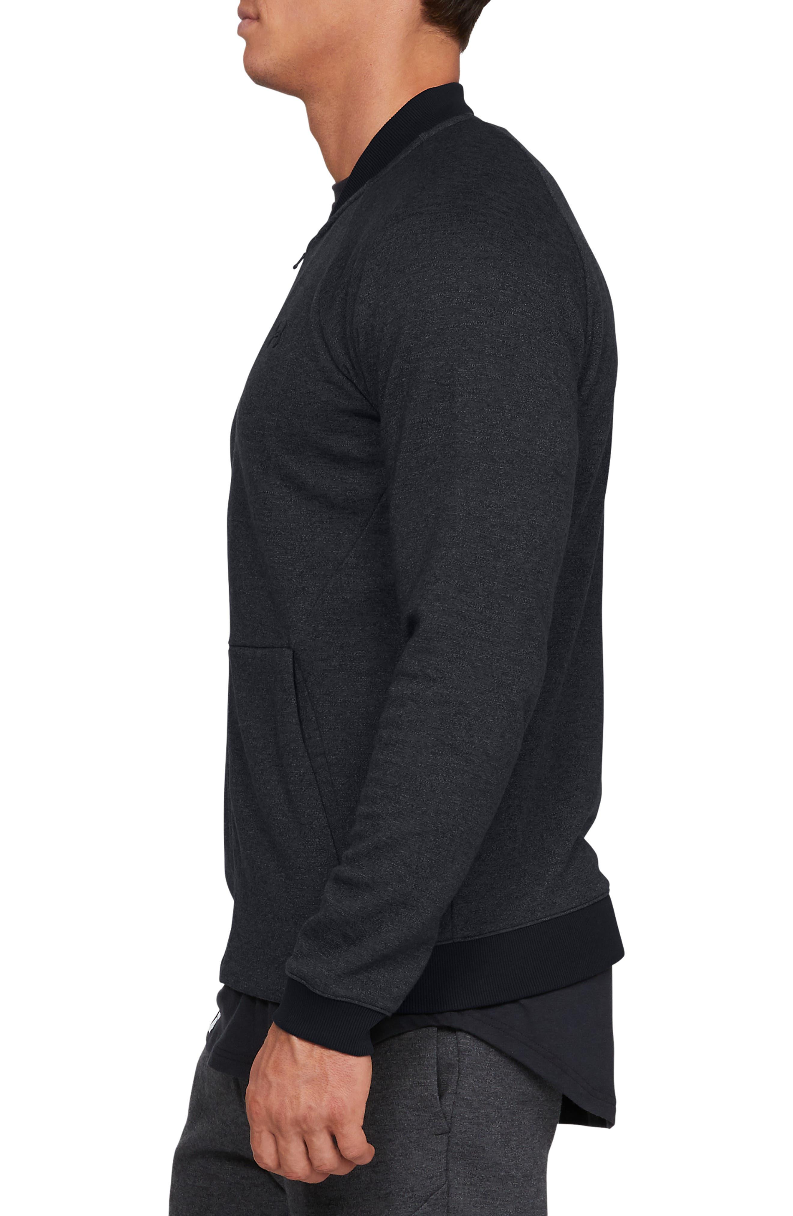 UNDER ARMOUR, Unstoppable Double Knit Bomber Jacket, Alternate thumbnail 4, color, BLACK/ BLACK/ BLACK