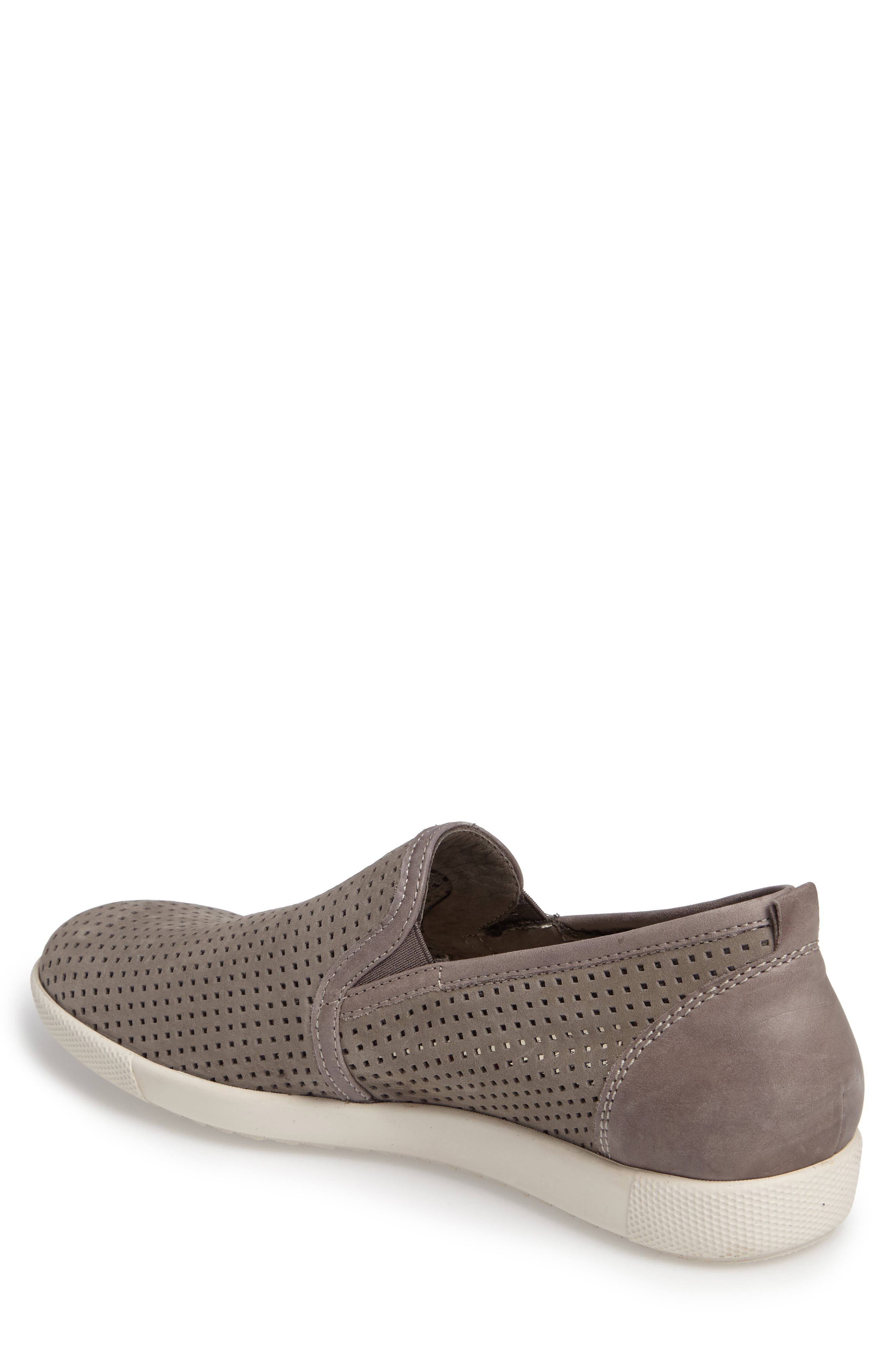 MEPHISTO, 'Ulrich' Perforated Leather Slip-On, Alternate thumbnail 2, color, LIGHT GREY SPORTBUCK