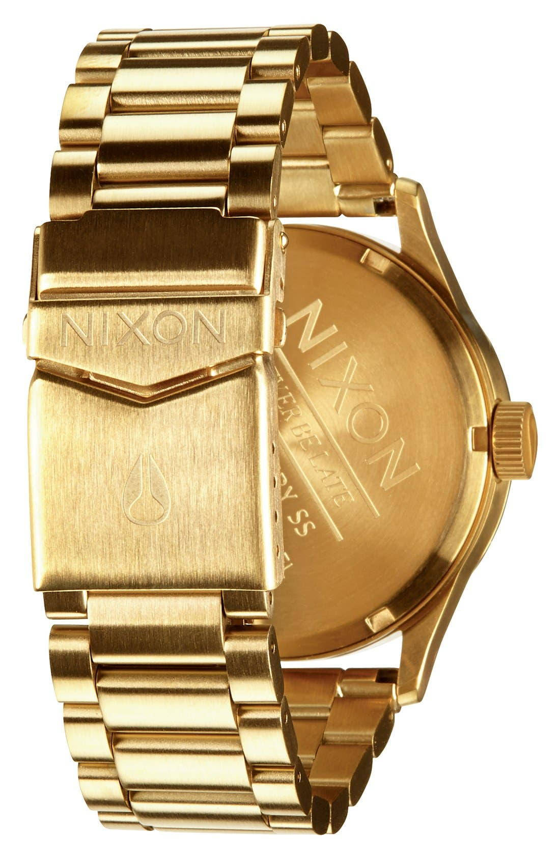 NIXON, Sentry Bracelet Watch, 42mm, Alternate thumbnail 5, color, GOLD