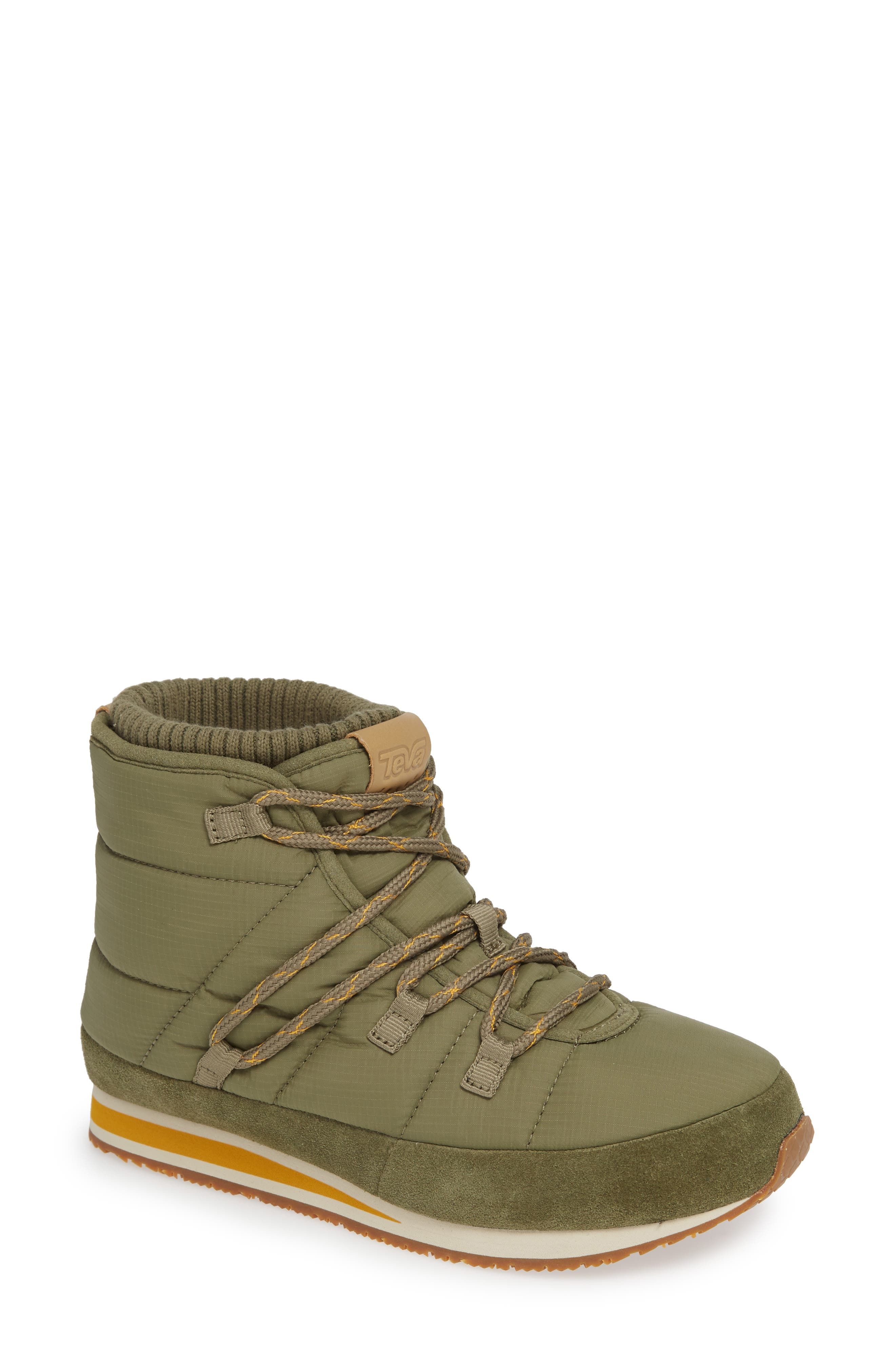 TEVA, Ember Lace-Up Winter Bootie, Main thumbnail 1, color, BURNT OLIVE FABRIC