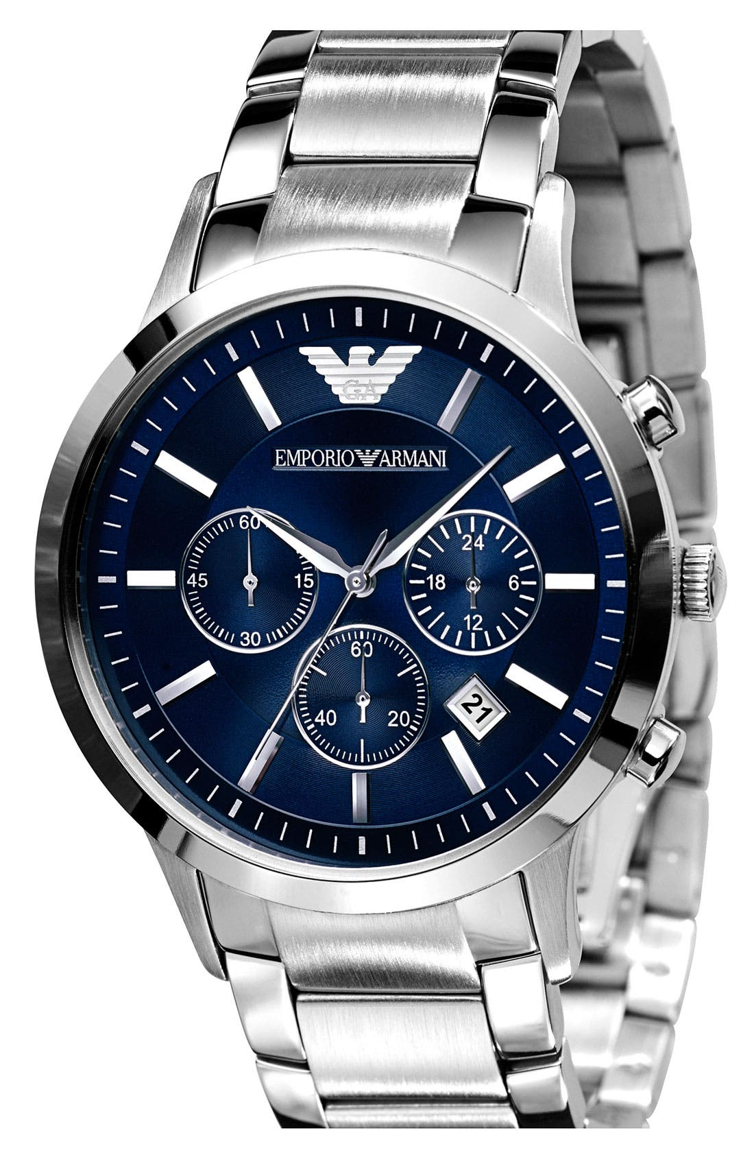EMPORIO ARMANI, Stainless Steel Bracelet Watch, 43mm, Main thumbnail 1, color, SILVER/ BLUE