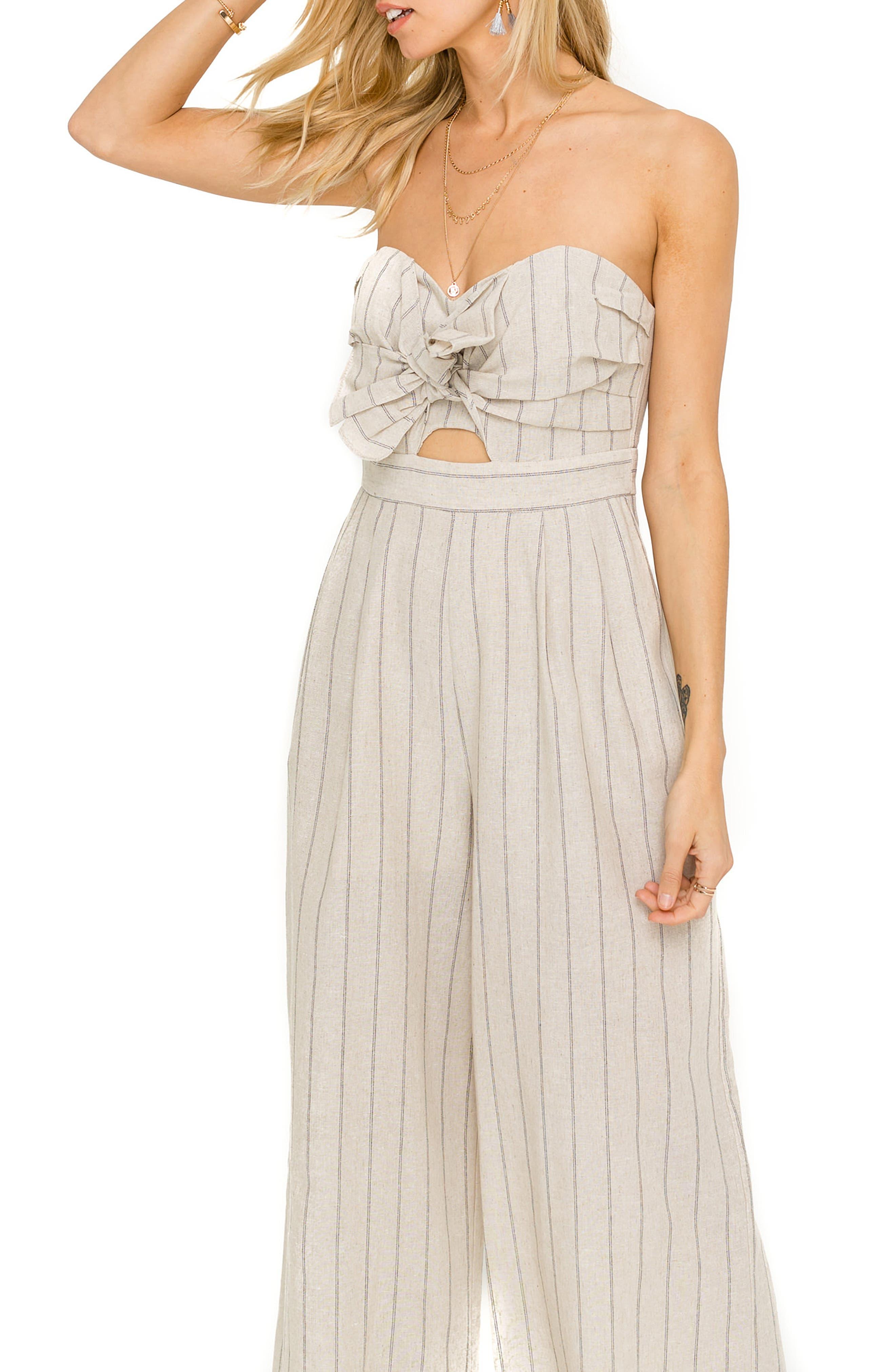 ASTR THE LABEL, Mara Strapless Cotton & Linen Jumpsuit, Alternate thumbnail 4, color, NATURAL/ BLACK STRIPE