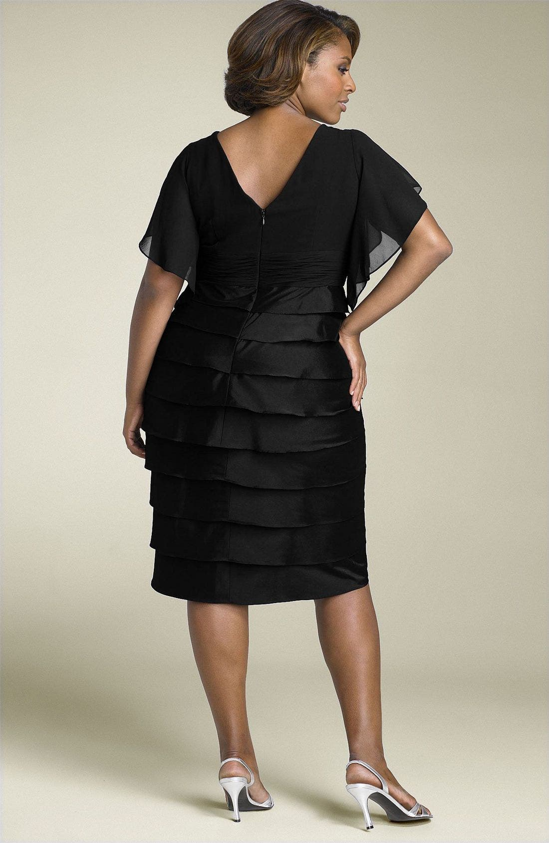 ADRIANNA PAPELL, Flutter Sleeve Tiered Dress, Alternate thumbnail 2, color, 001