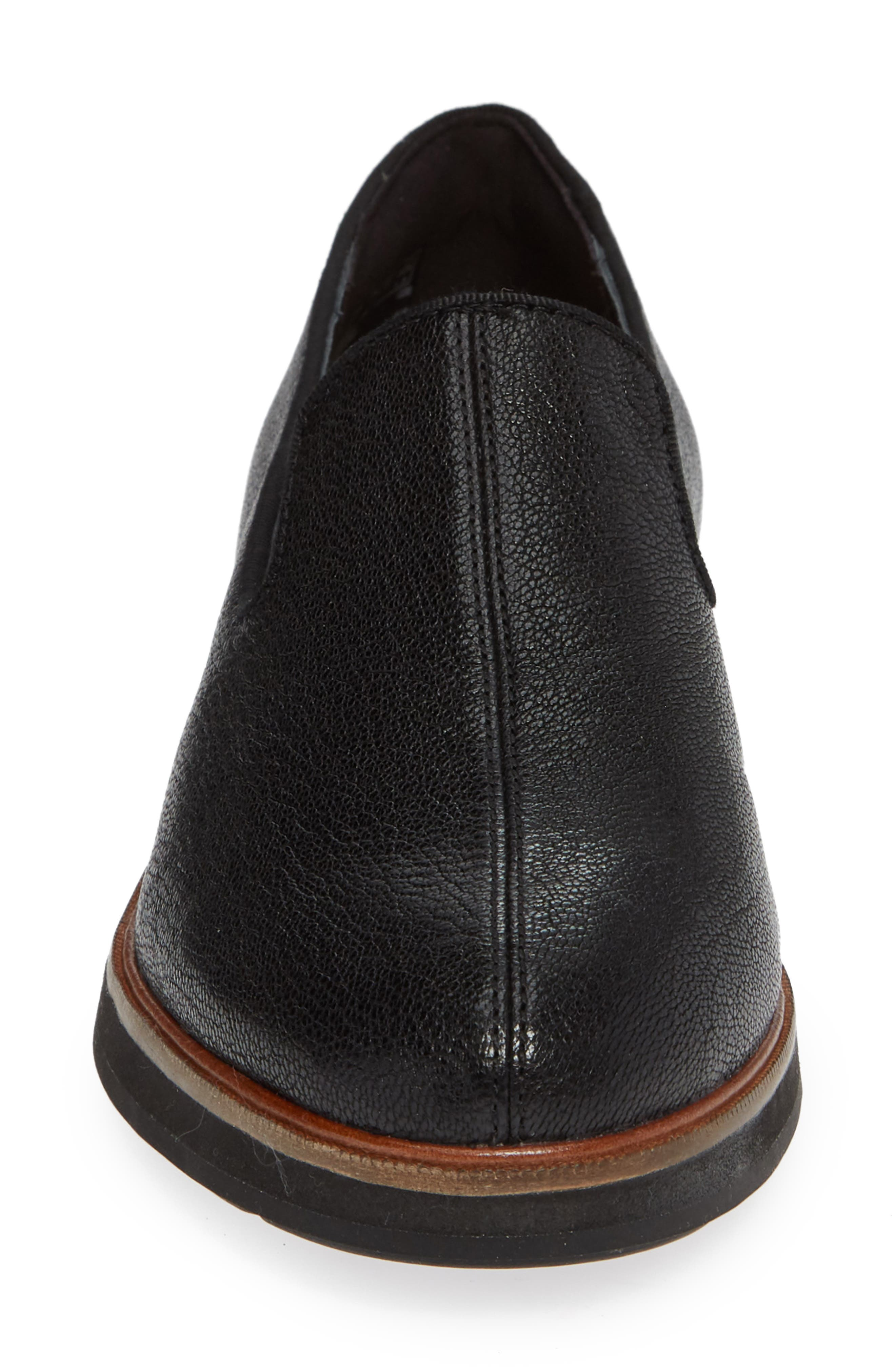 CLARKS<SUP>®</SUP>, Frida Loafer, Alternate thumbnail 4, color, BLACK TUMBLED LEATHER