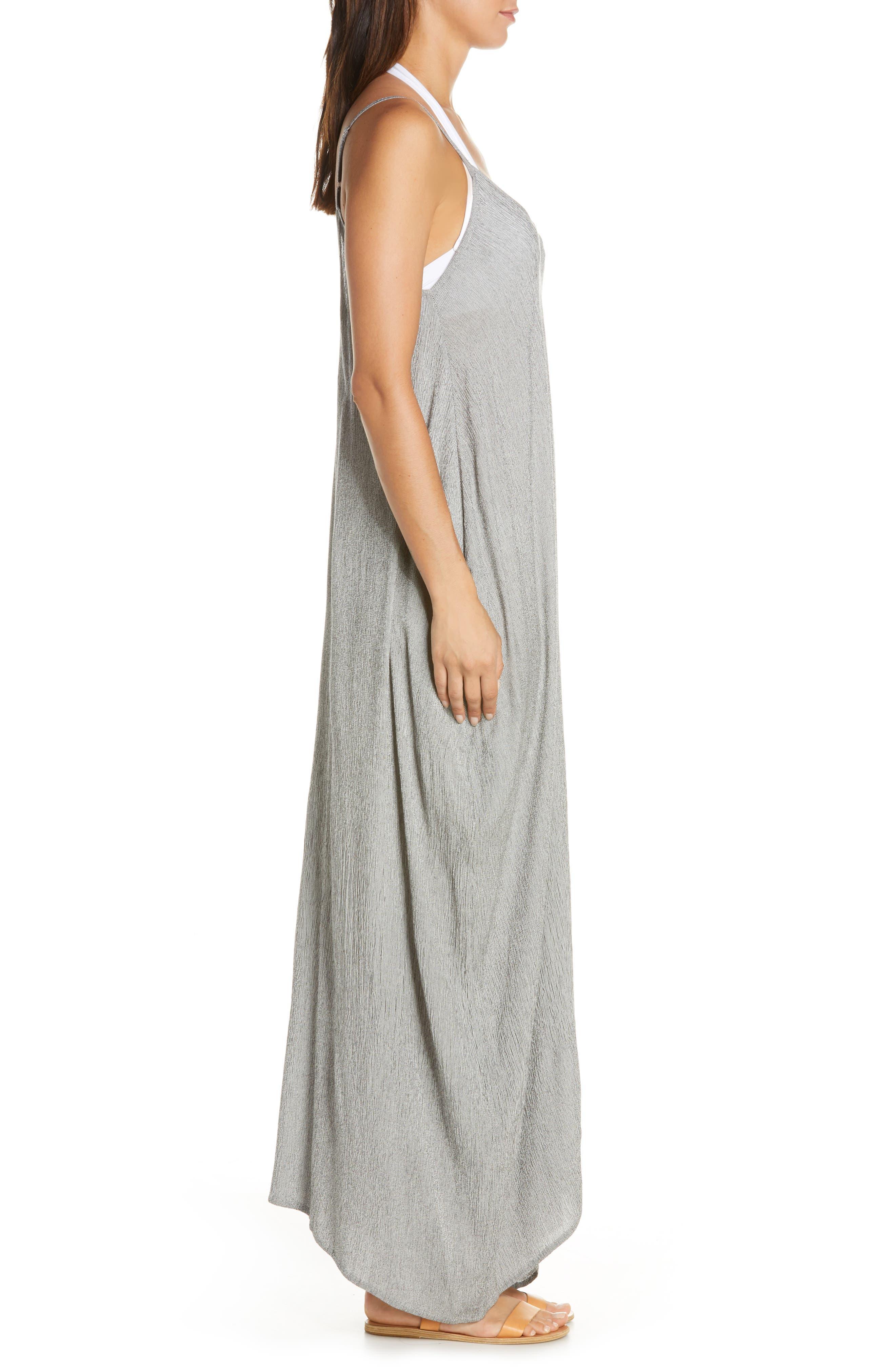 ELAN, Cover-Up Maxi Dress, Alternate thumbnail 4, color, BLACK MICRO STRIPE