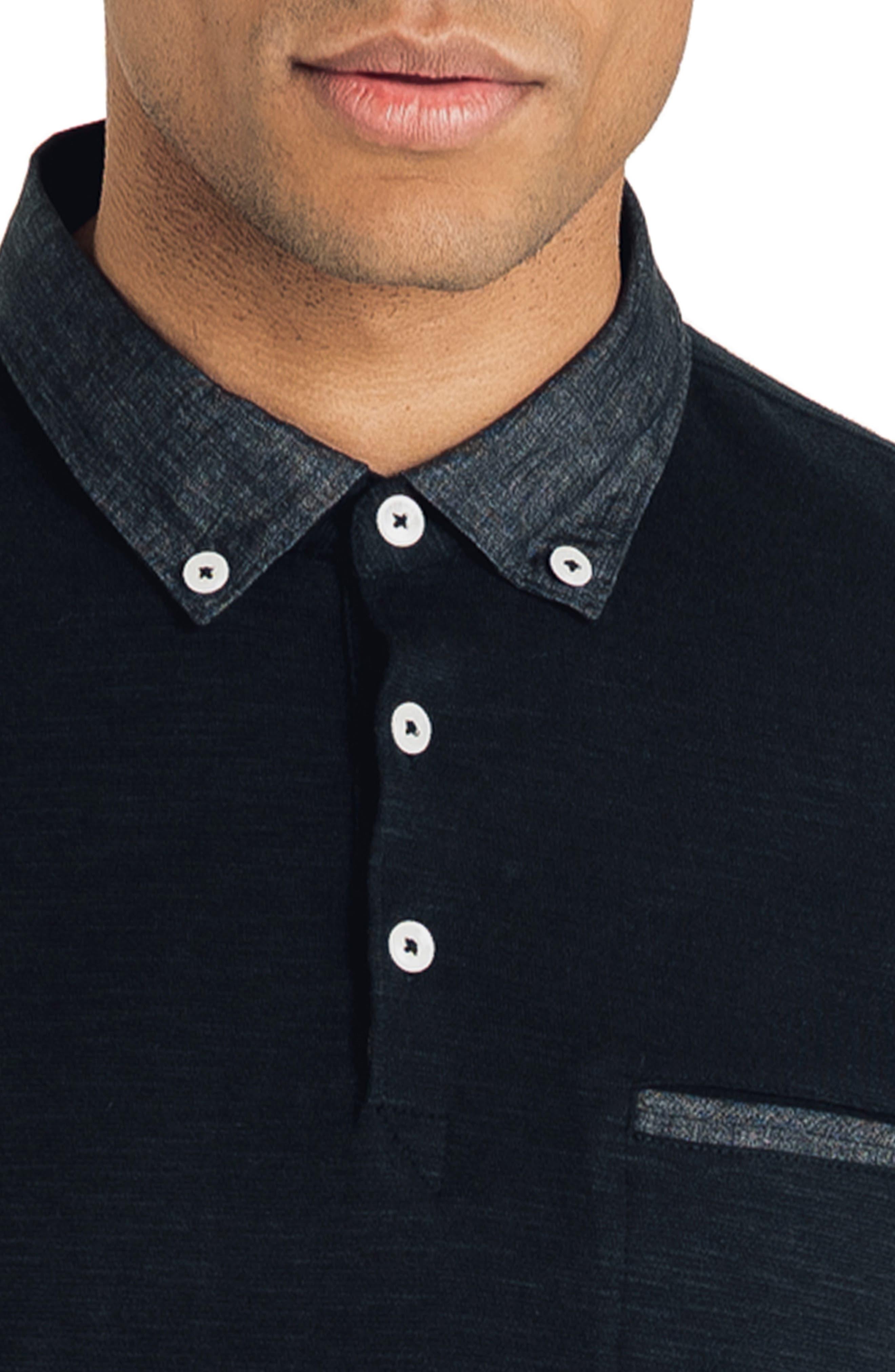 GOOD MAN BRAND, Slub Jersey Cotton Polo Shirt, Alternate thumbnail 4, color, BLACK