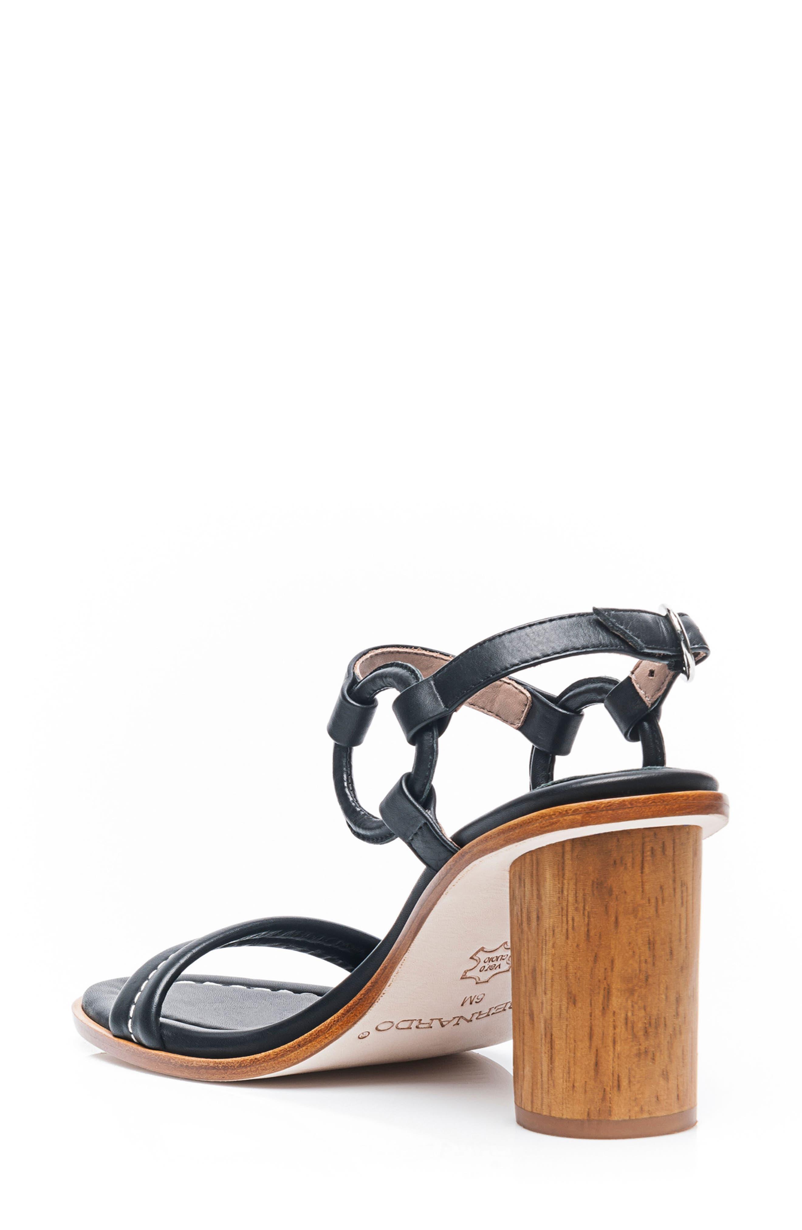 BERNARDO, Harlow Ankle Strap Sandal, Alternate thumbnail 2, color, BLACK LEATHER