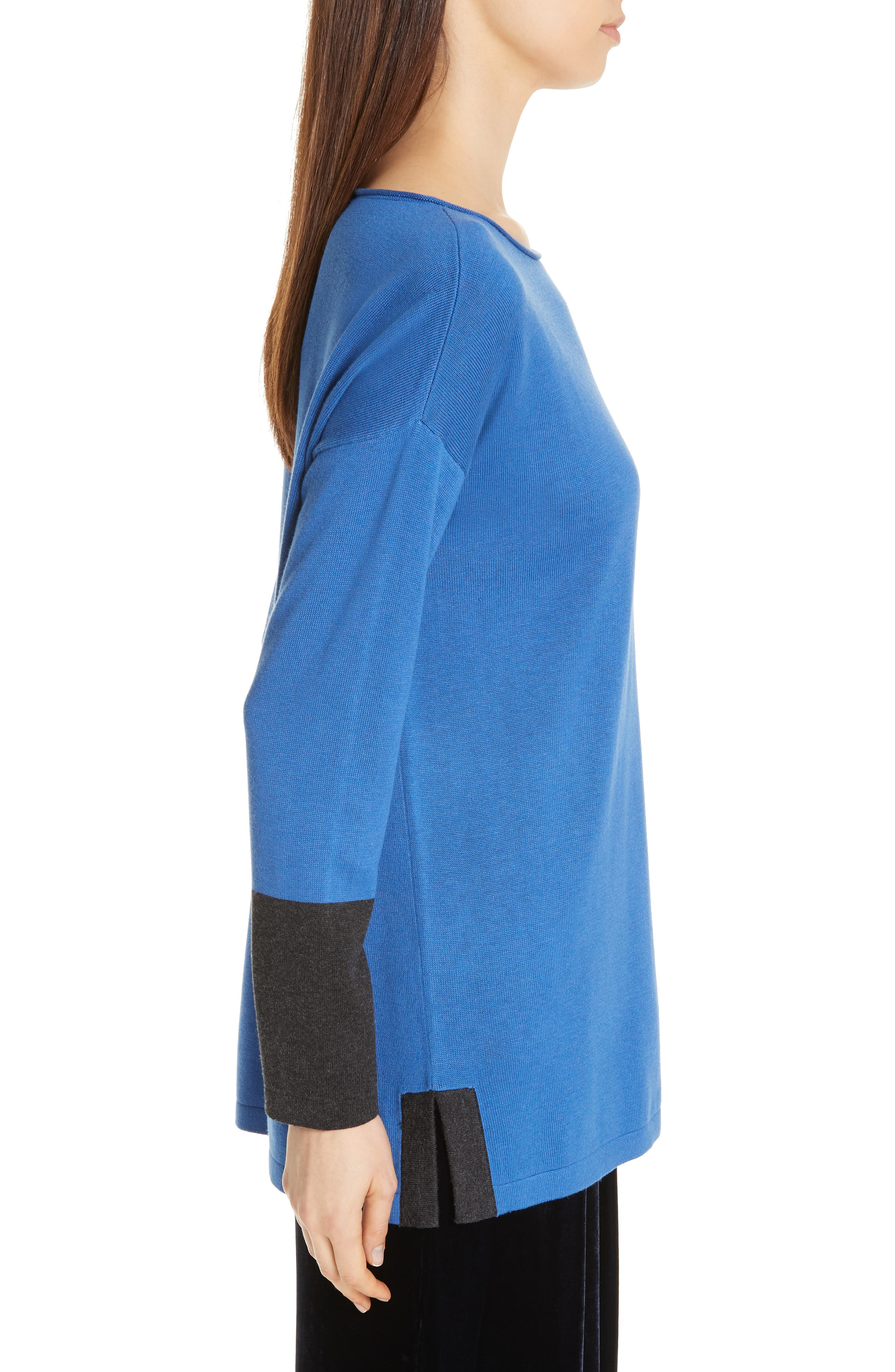 EILEEN FISHER, Colorblock Sleeve Tunic, Alternate thumbnail 3, color, 400