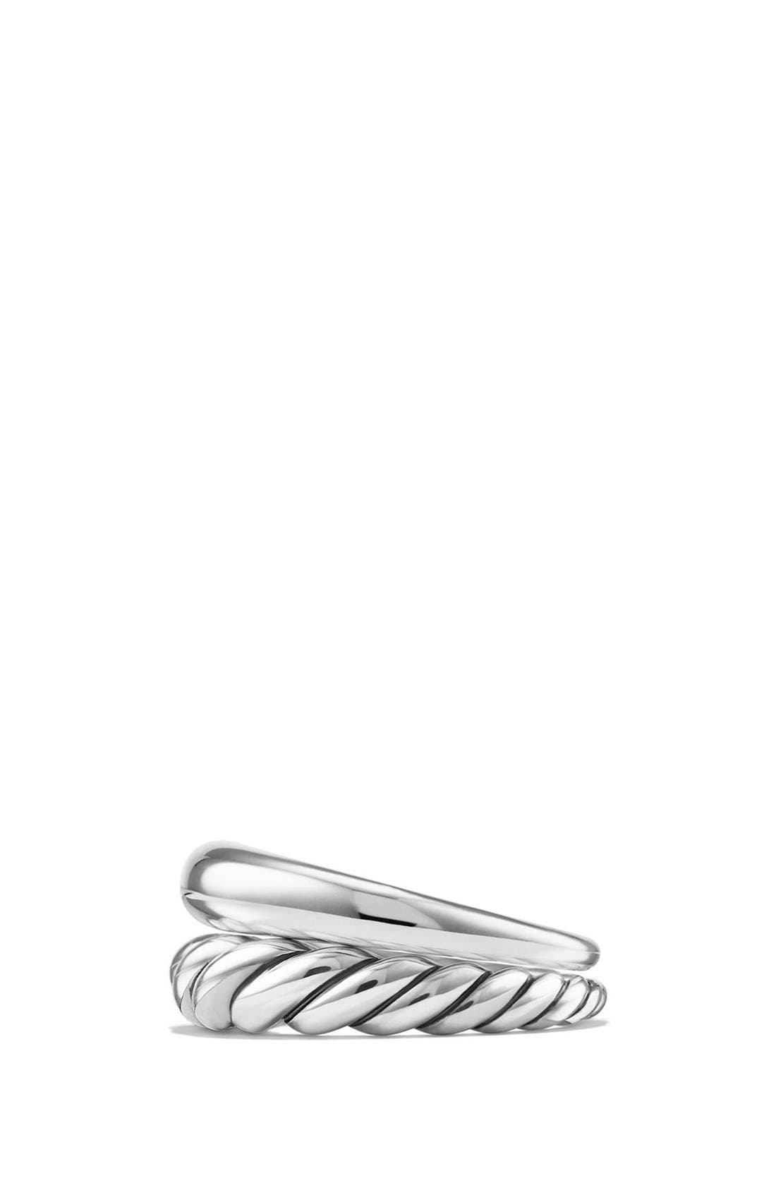 DAVID YURMAN, 'Pure Form' Sterling Silver Stacking Rings, Alternate thumbnail 3, color, SILVER