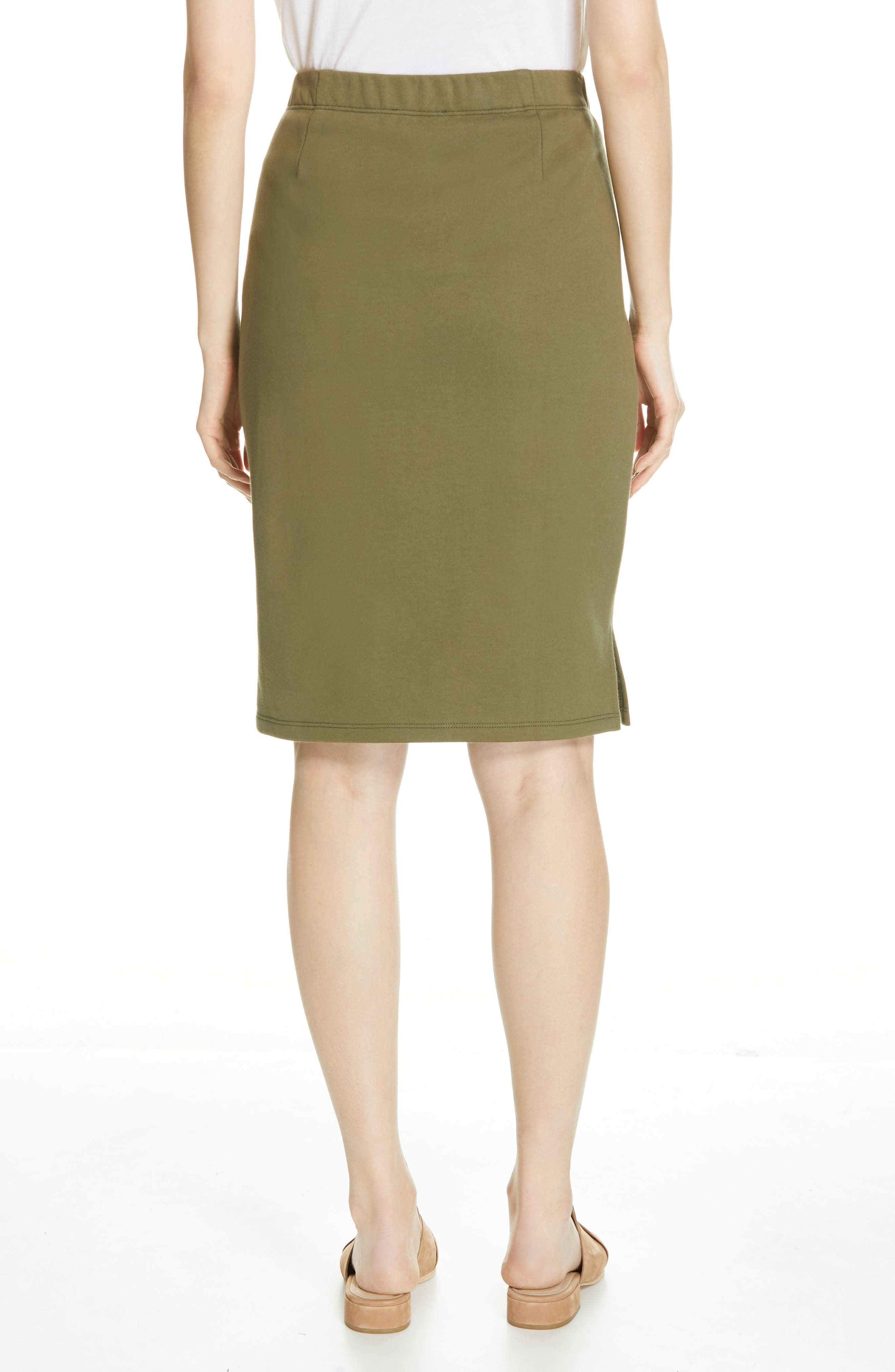 EILEEN FISHER, Organic Cotton Pencil Skirt, Alternate thumbnail 2, color, OLIVE