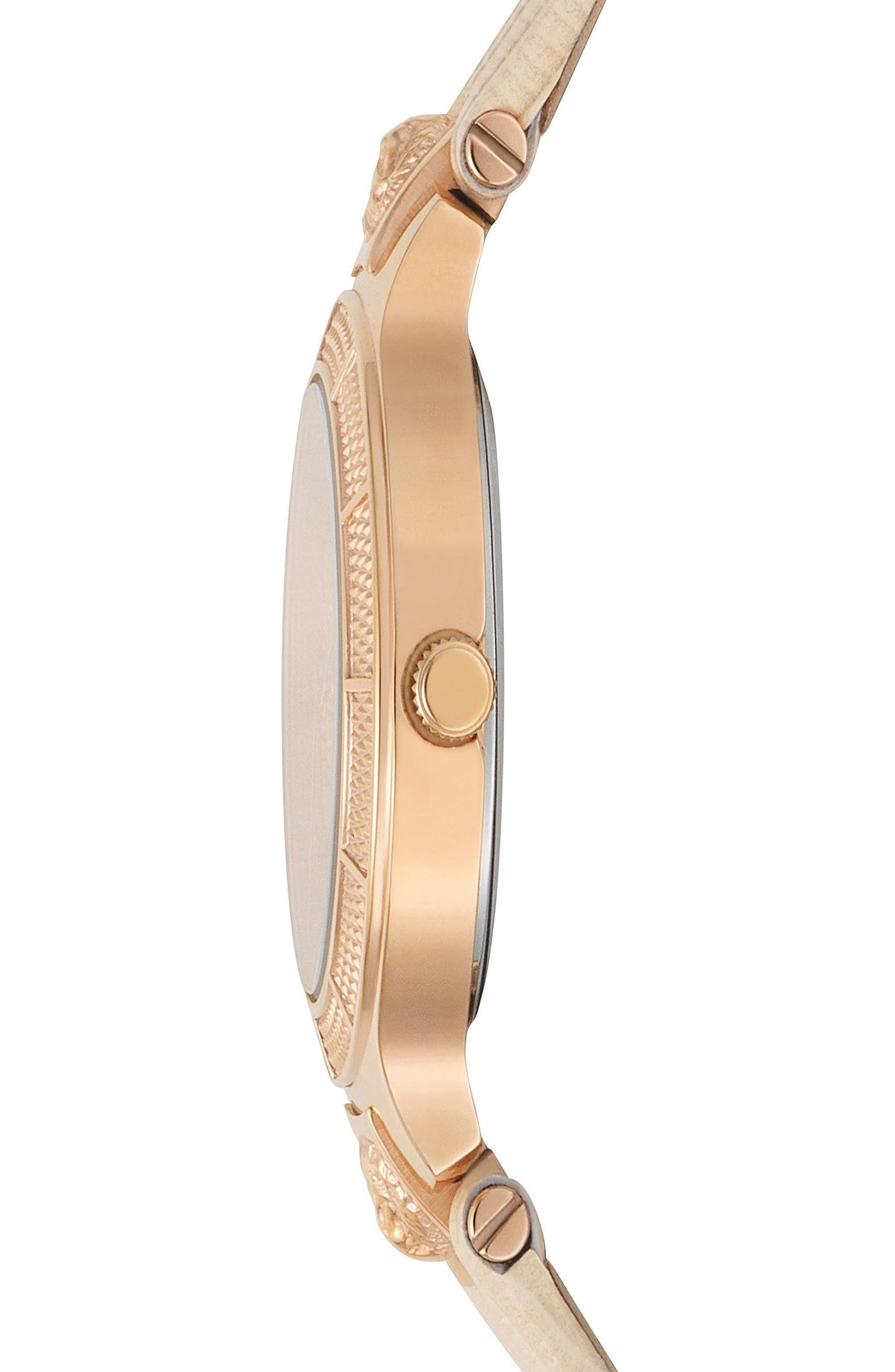 VERSUS VERSACE, Claremont Leather Strap Watch, 32mm, Alternate thumbnail 2, color, PINK/ ROSE GOLD