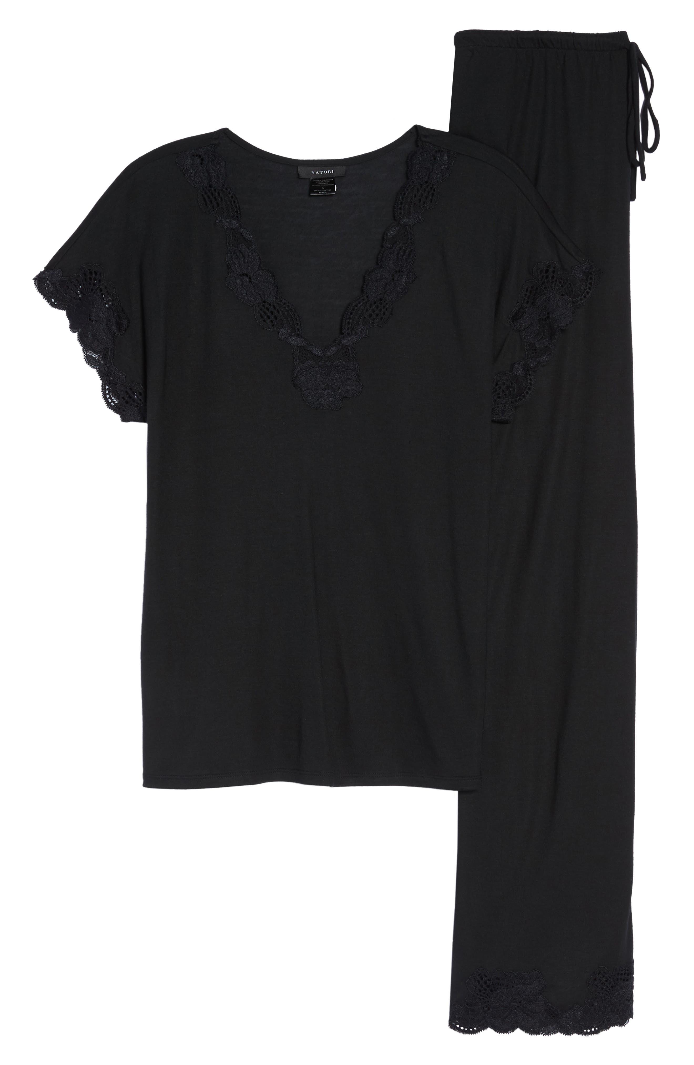 NATORI, 'Zen Floral' Pajama Set, Alternate thumbnail 7, color, BLACK