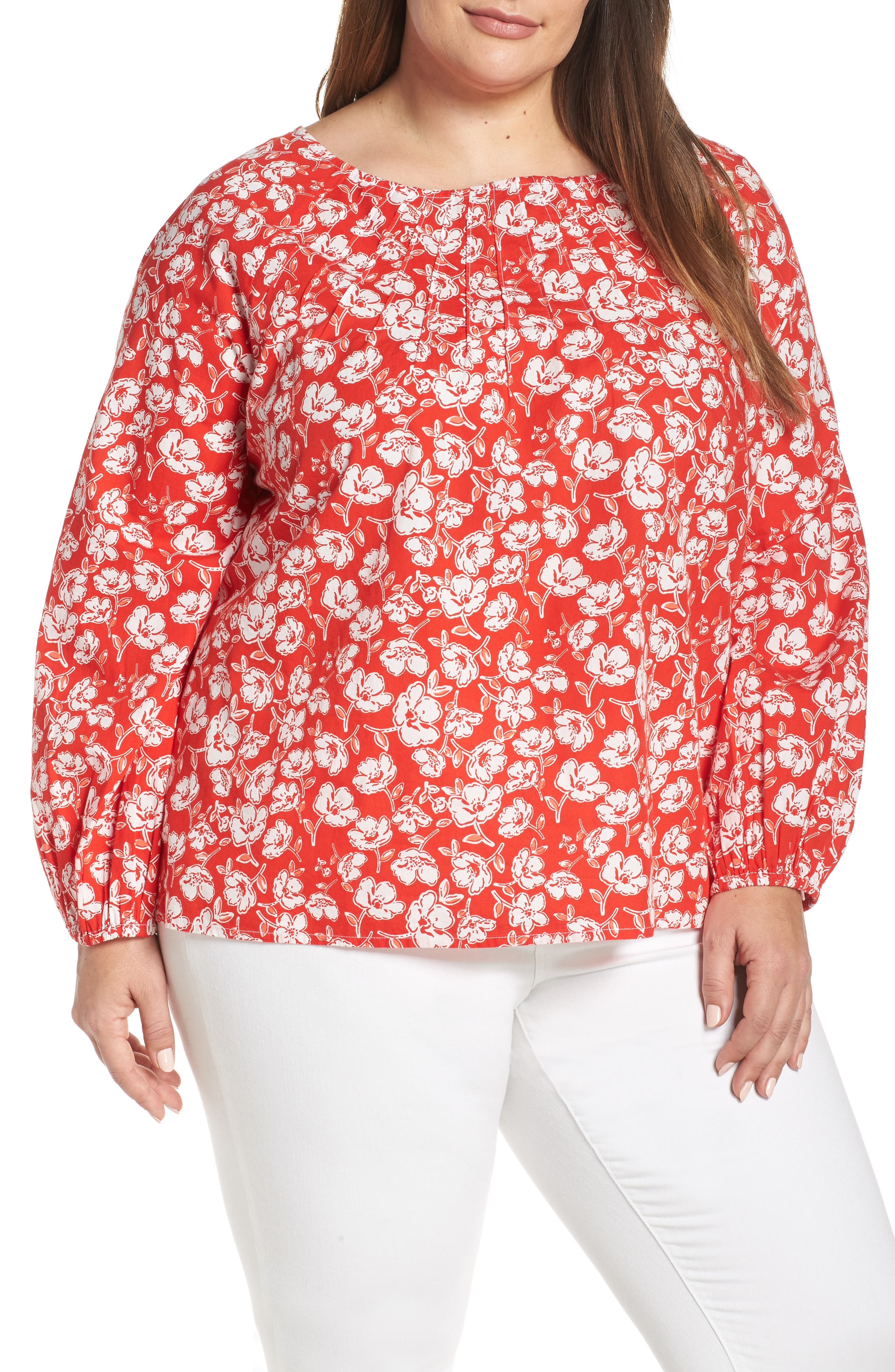 CASLON<SUP>®</SUP> Floral Print Pintuck Pleat Top, Main, color, RED SCARLET FLORAL