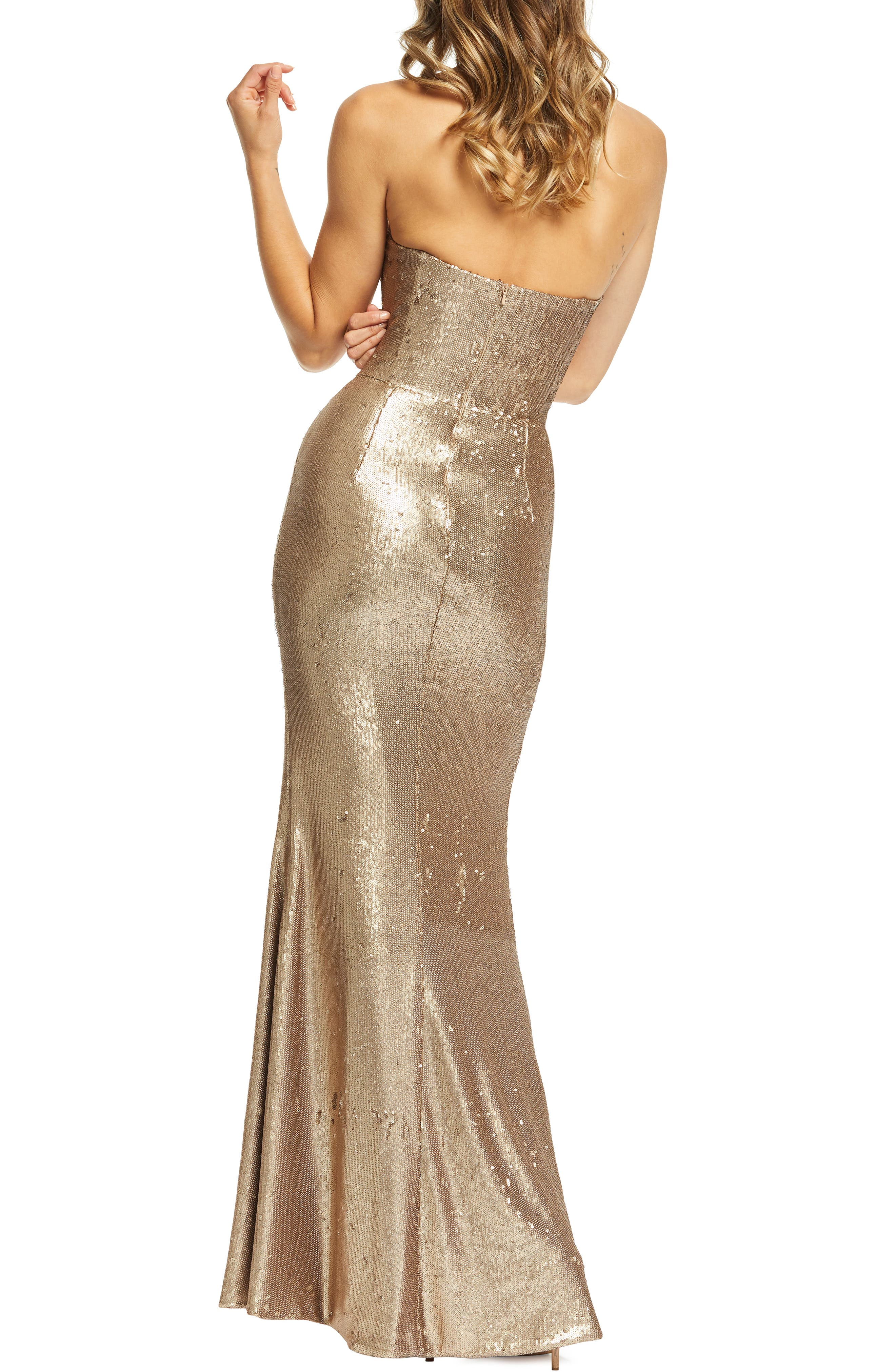 DRESS THE POPULATION, Ellen Strapless Sequin Evening Dress, Alternate thumbnail 2, color, BRONZE